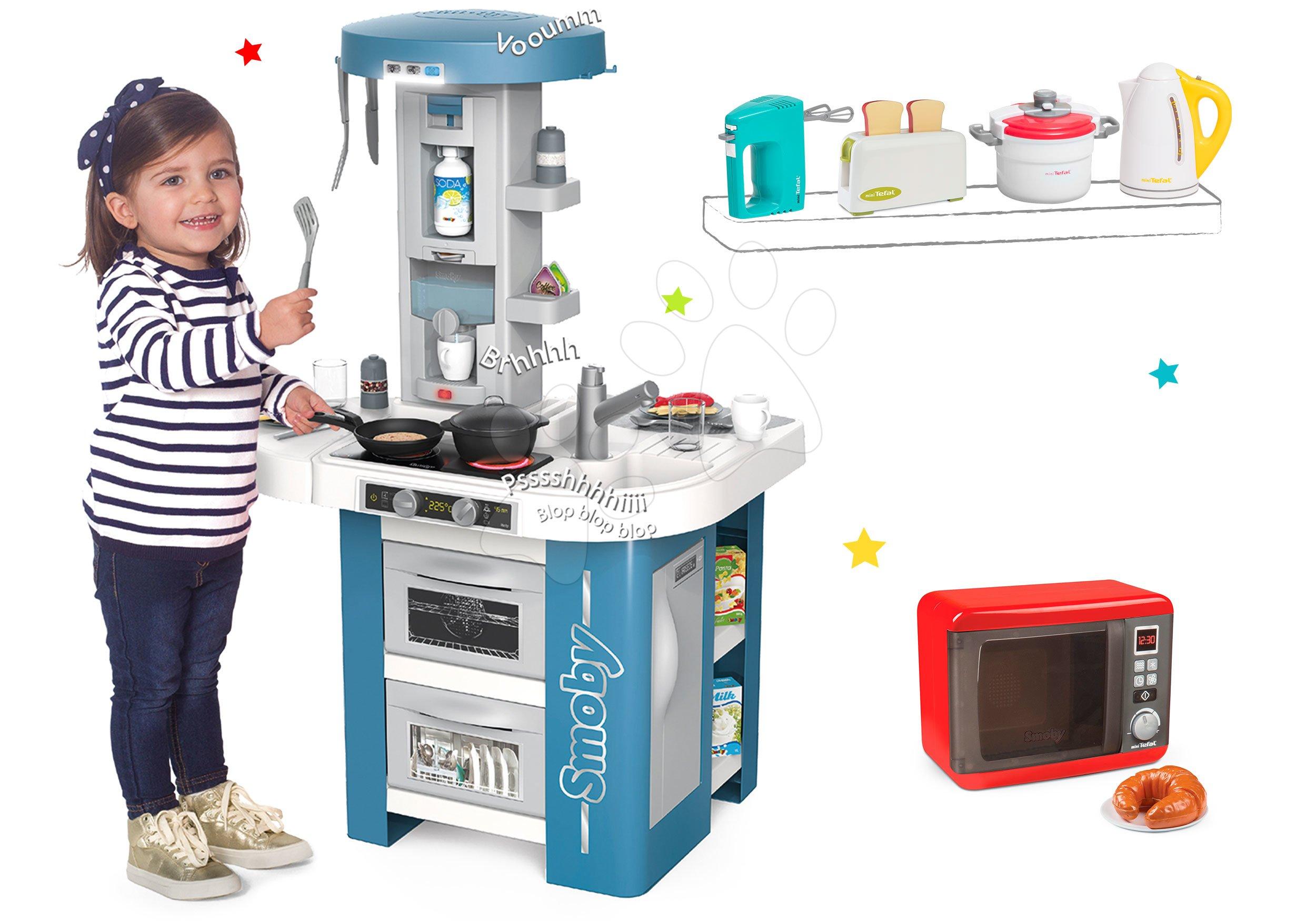 Set kuchynka s technickým vybavením Tech Edition Smoby elektronická s mikrovlnkou a so 4 Tefal spotrebičmi