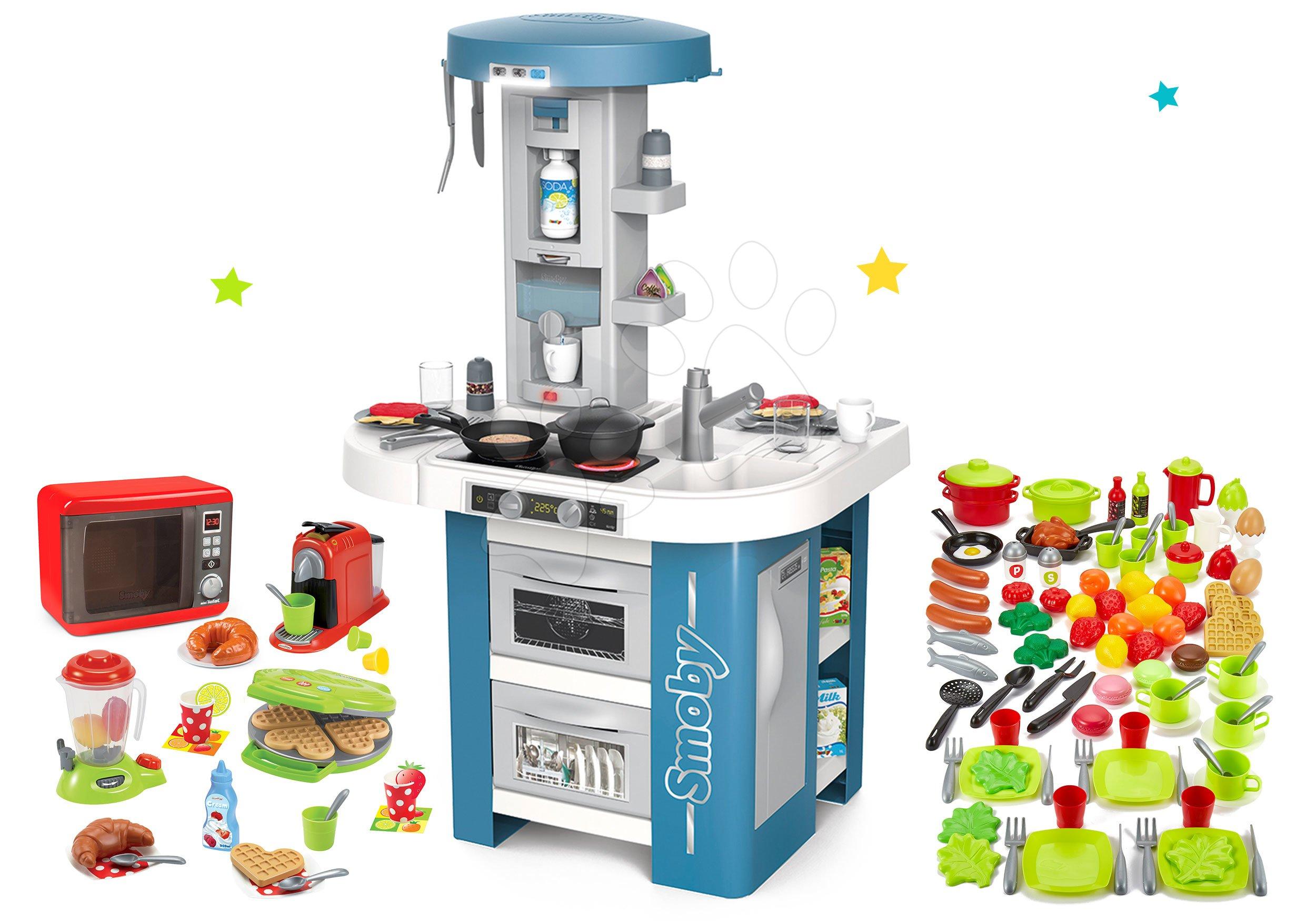 Set kuchyňka s technickým vybavením Tech Edition Smoby elektronická s mikrovlnkou a vaflovač s potravinami
