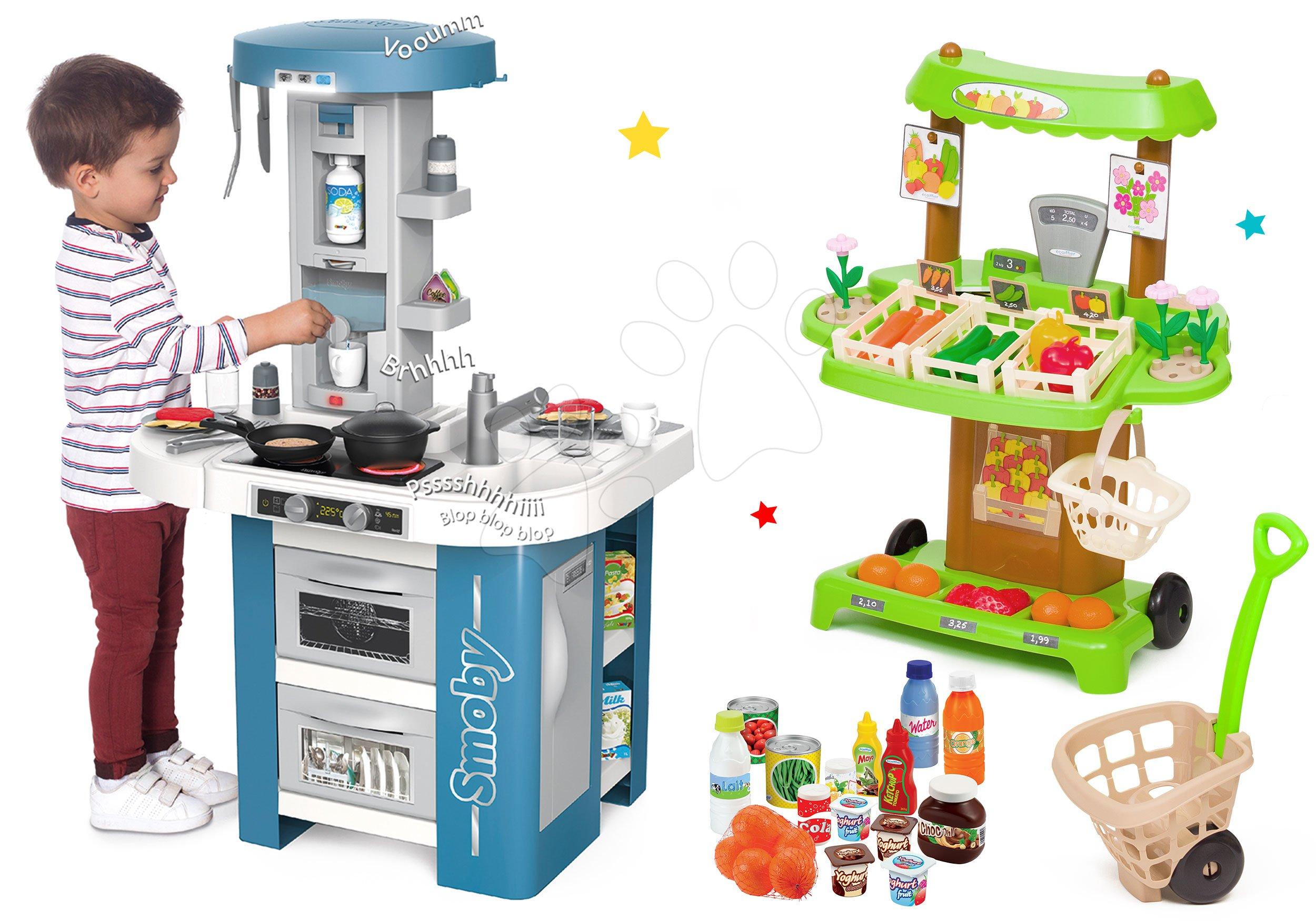 Set kuchyňka s technickým vybavením Tech Edition Smoby elektronická s BIO zeleninovým stánkem a potravinami