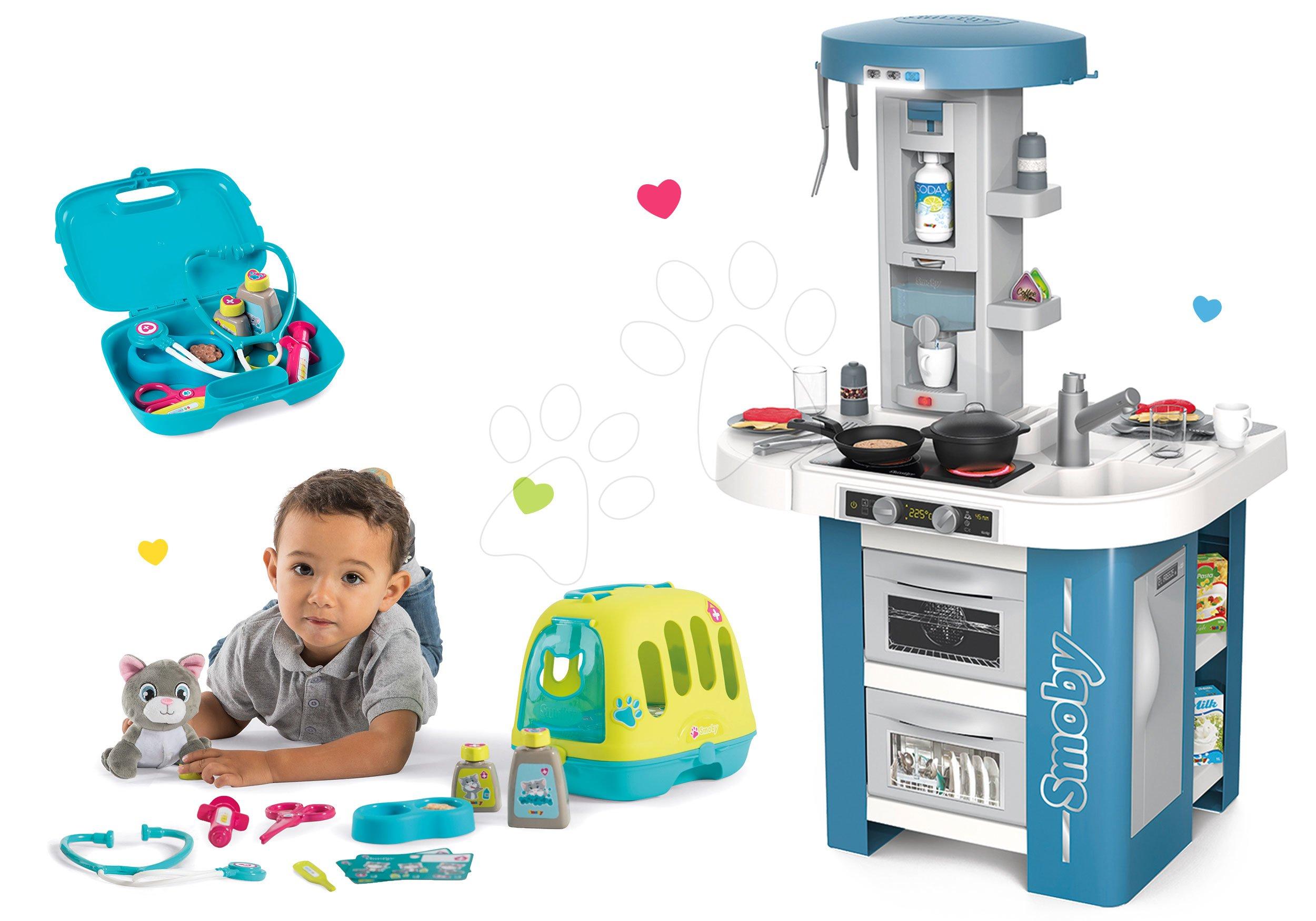 Set kuchyňka s technickým vybavením Tech Edition Smoby elektronická a veterinární kufřík s kočičkou se 4 zvuky a 10 doplňků
