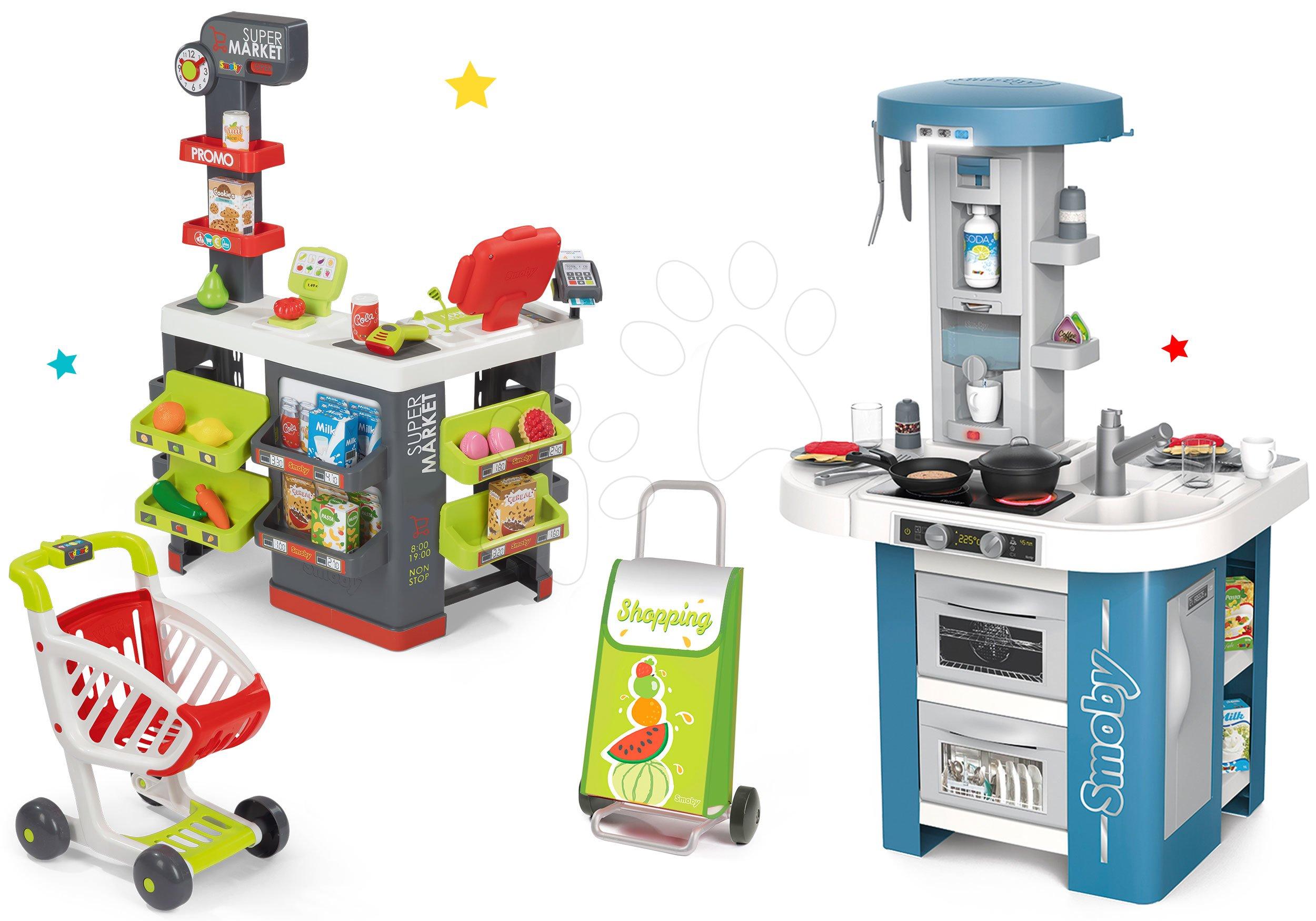 Set kuchynka s technickým vybavením Tech Edition Smoby elektronická so supermarketom a nákupný vozík s taškou