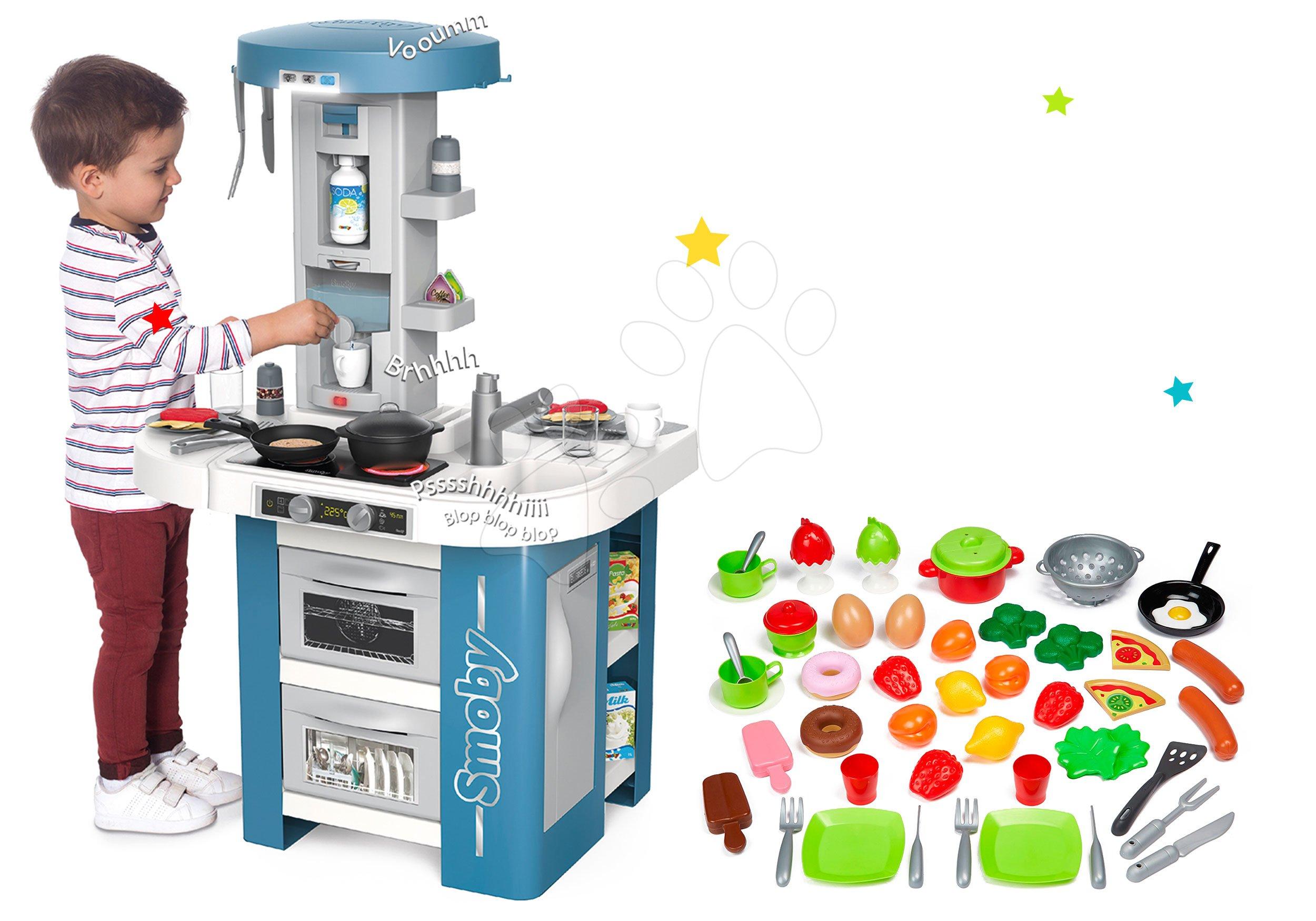 Set kuchynka s technickým vybavením Tech Edition Smoby elektronická s riadom a potravinami 50 dielov ako Darček