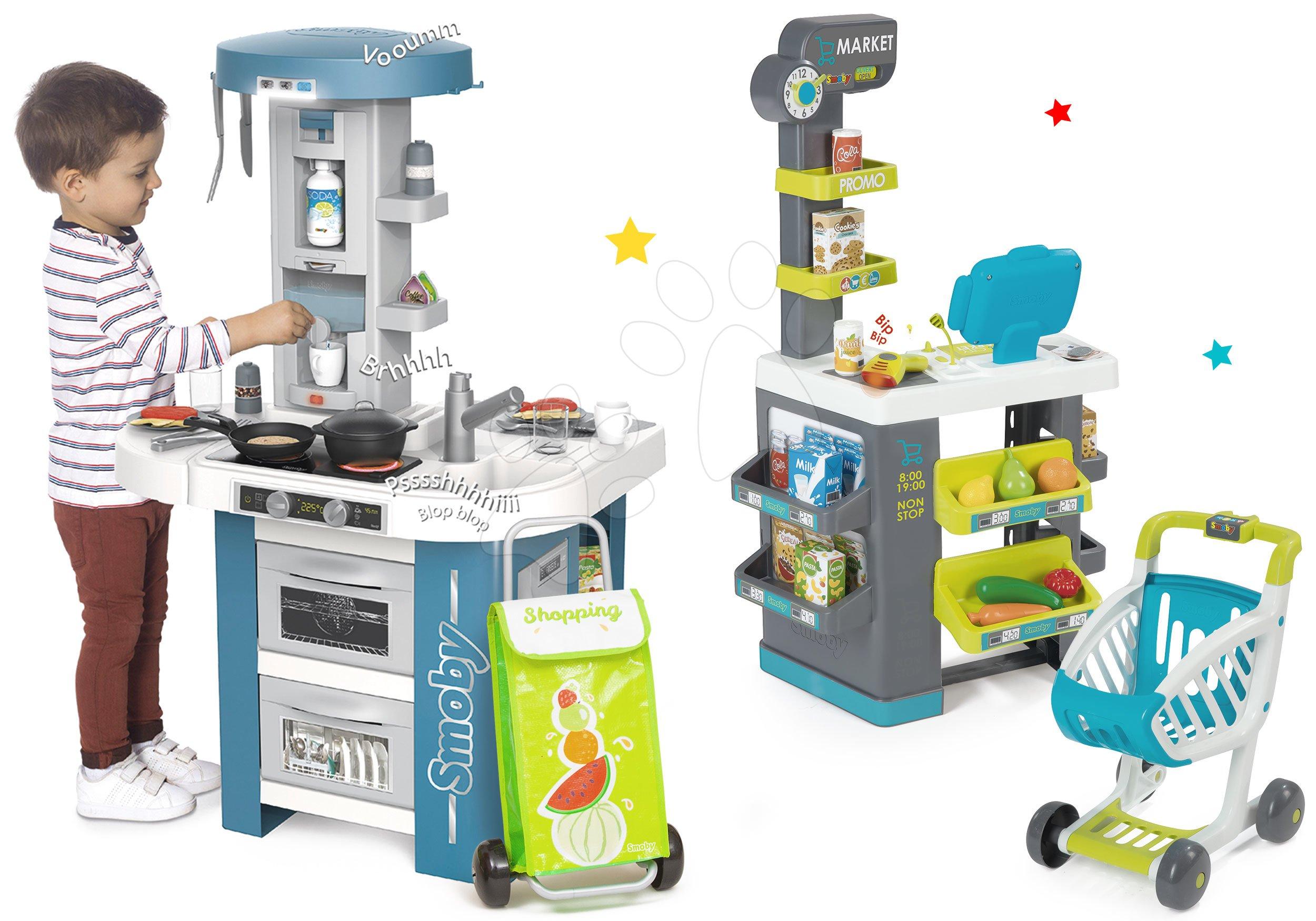Set kuchynka s technickým vybavením Tech Edition Smoby elektronická s obchodom s rozličným tovarom a nákupnou taškou