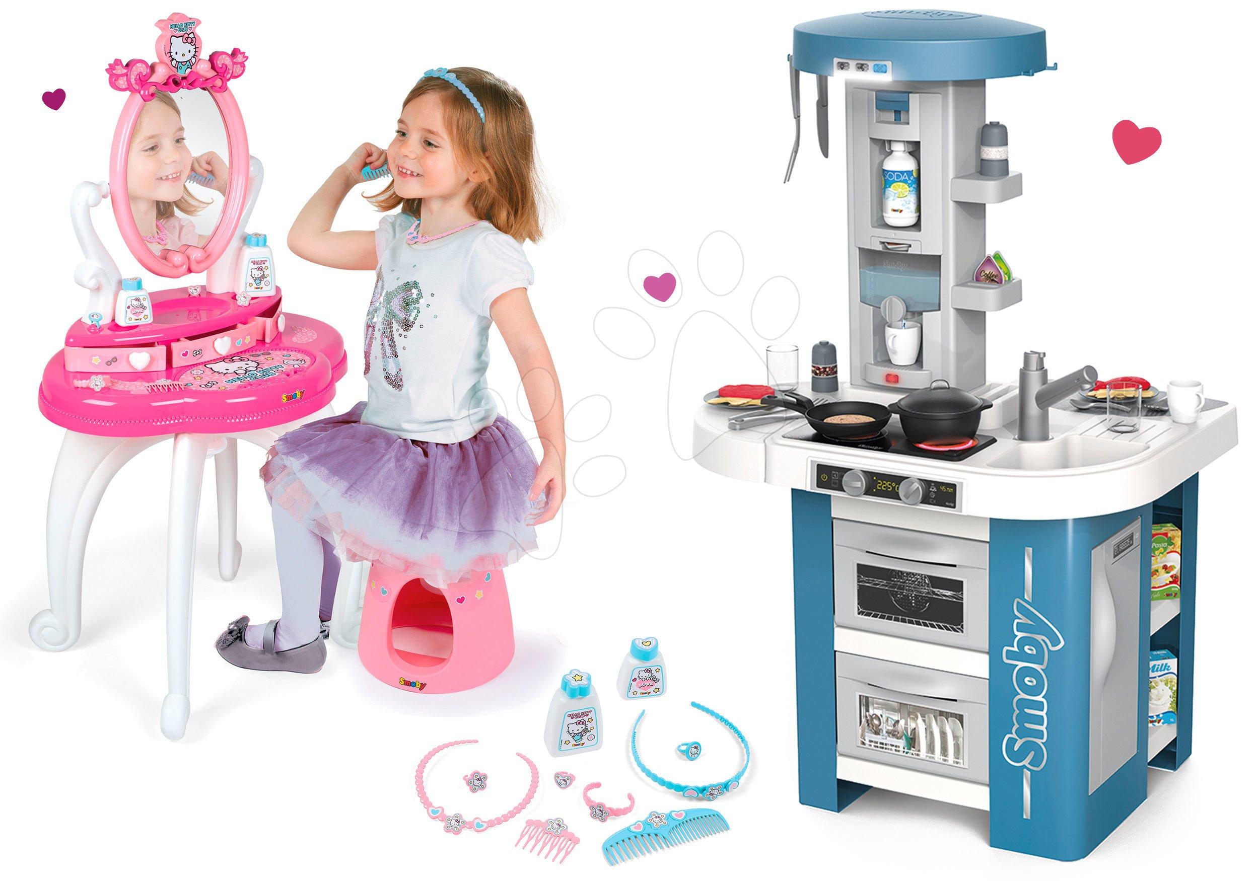 Set kuchynka s technickým vybavením Tech Edition Smoby elektronická s kozmetickým stolíkom Hello Kitty
