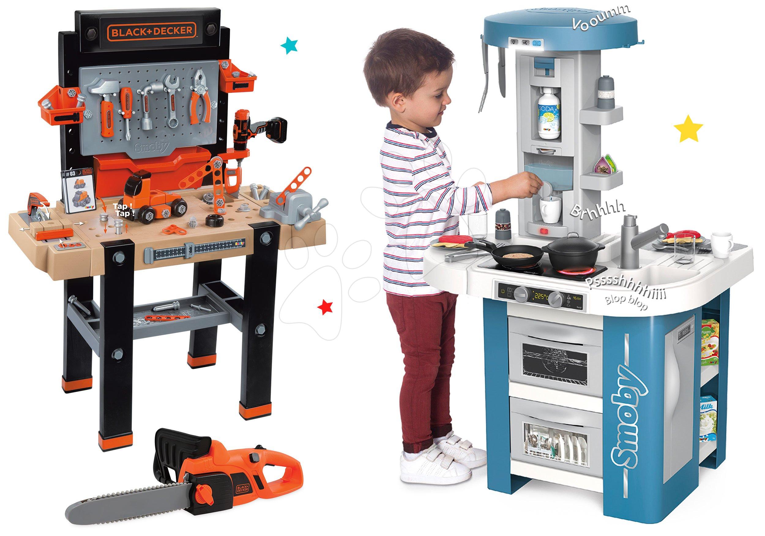 Set kuchyňka s technickým vybavením Tech Edition Smoby elektronická a pracovní dílna Black&Decker s motorovou pilou
