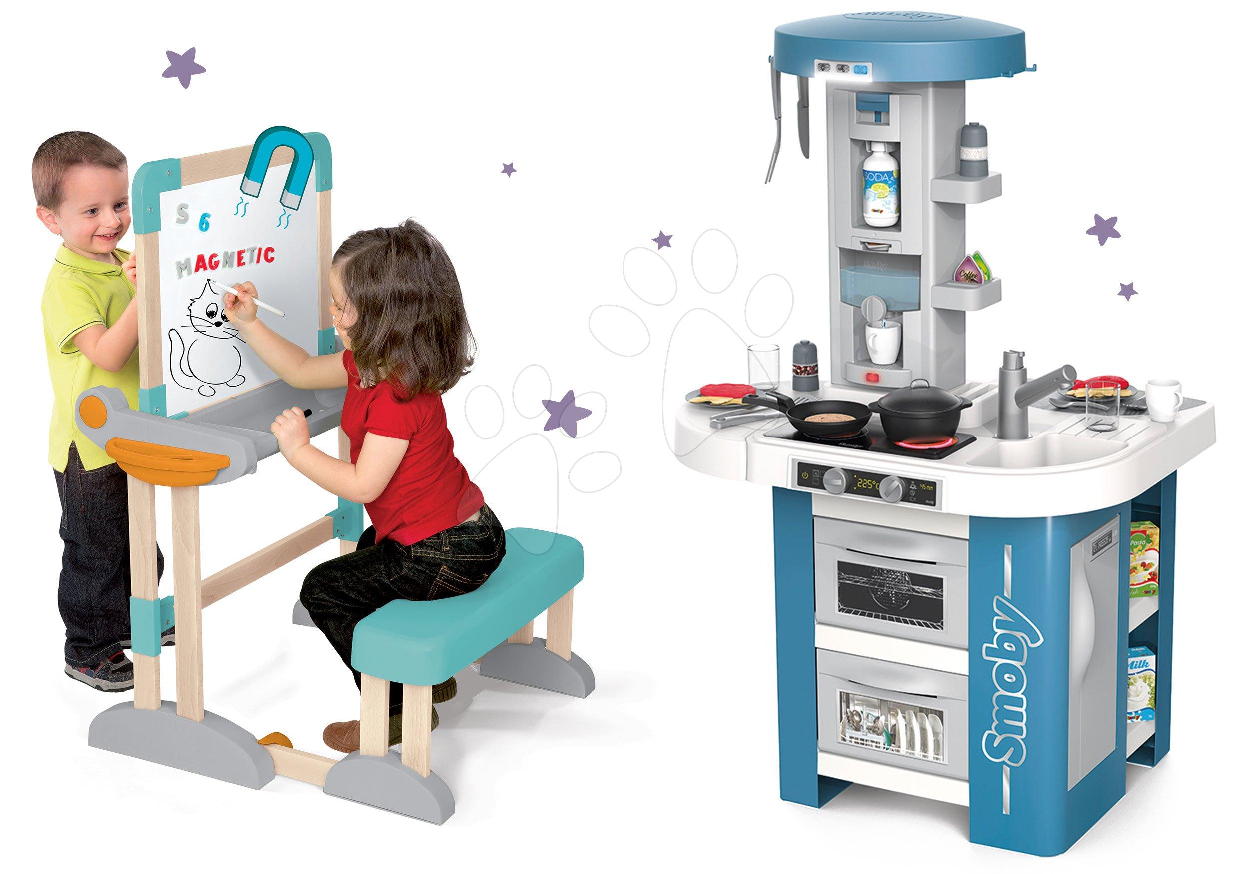 Set kuchyňka s technickým vybavením Tech Edition Smoby elektronická s lavicí na psaní a kreslení mag