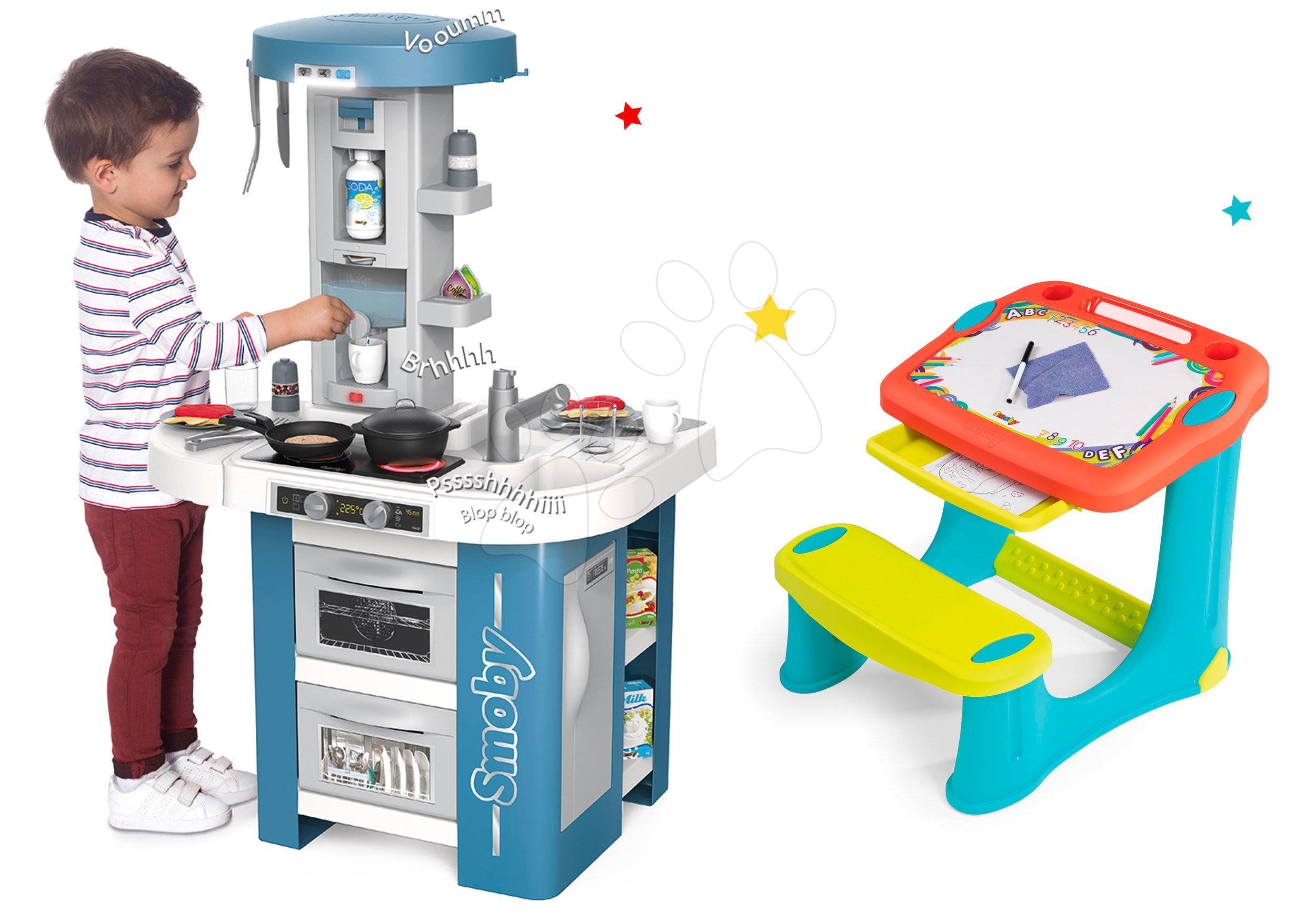 Set kuchynka s technickým vybavením Tech Edition Smoby elektronická s lavicou na kreslenie a písanie s vymaľovánkami