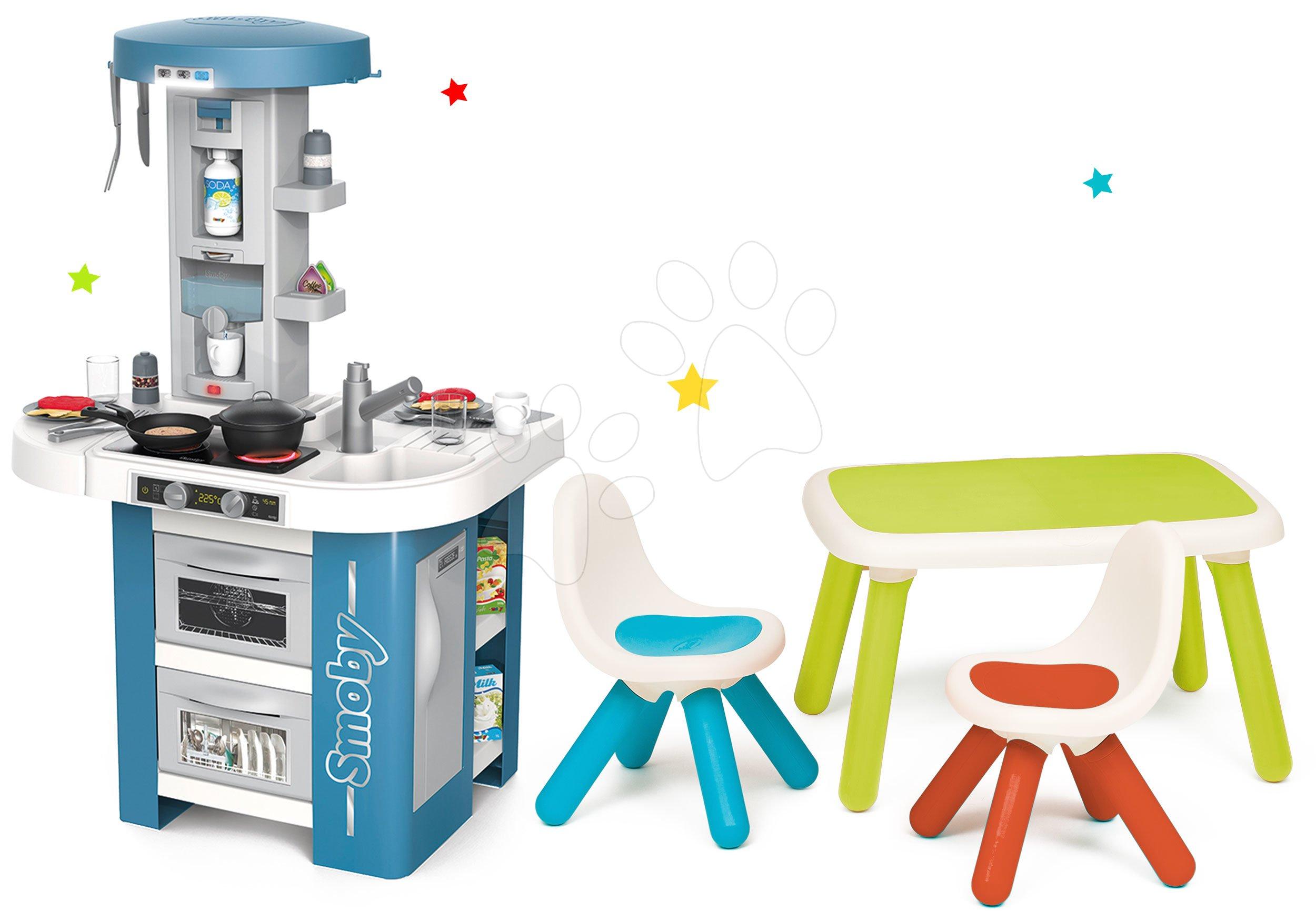 Kuchynky pre deti sety - Set kuchynka s technickým vybavením Tech Edition Smoby elektronická so stolom a dvoma stoličkami