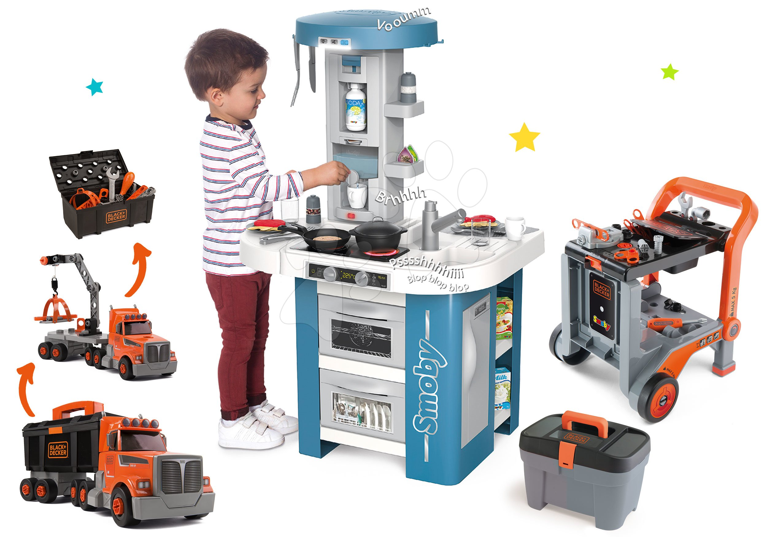 Set kuchyňka s technickým vybavením Tech Edition Smoby elektronická s Black&Decker kamionem a pracovní vozík s nářadím