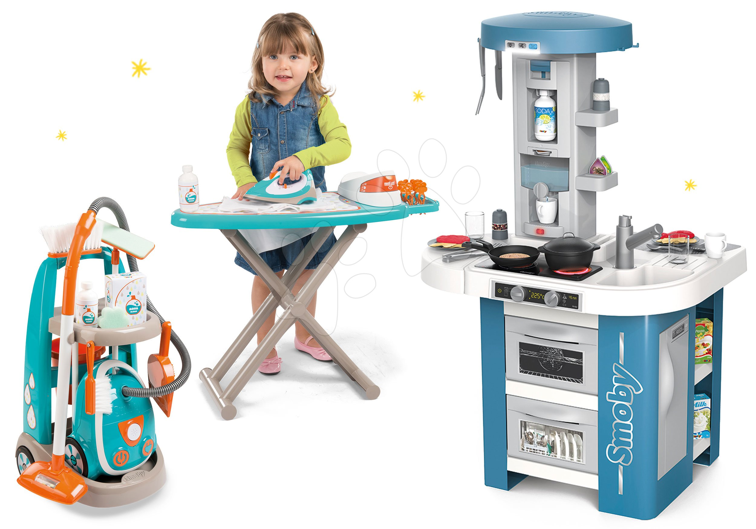 Set kuchynka s technickým vybavením Tech Edition Smoby elektronická s upratovacím vozíkom a žehliacou doskou
