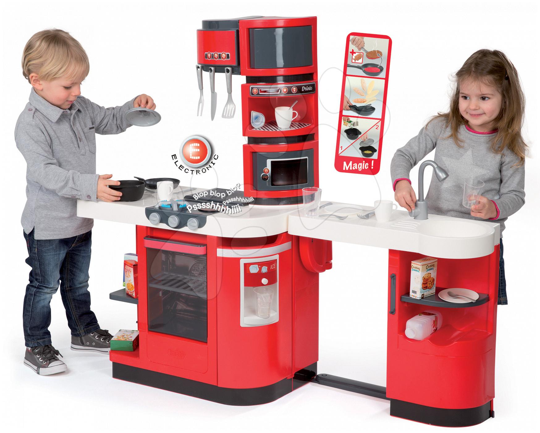 Elektronické kuchynky - Kuchynka CookMaster Smoby elektronická so zvukmi, s ľadom, opečenými potravinami a 36 doplnkami červená