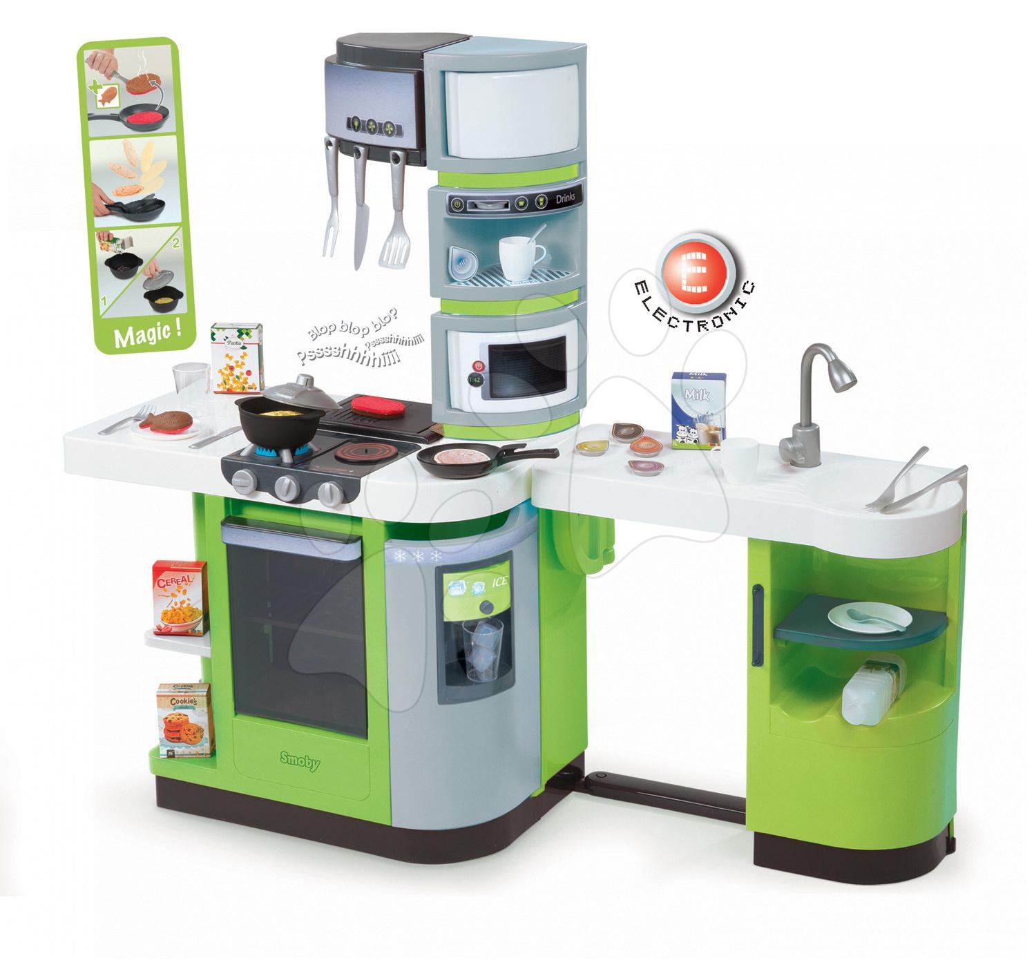 Elektronické kuchynky - Kuchynka CookMaster Verte Smoby elektronická so zvukmi, s ľadom, opečenými potravinami a 36 doplnkami zelená