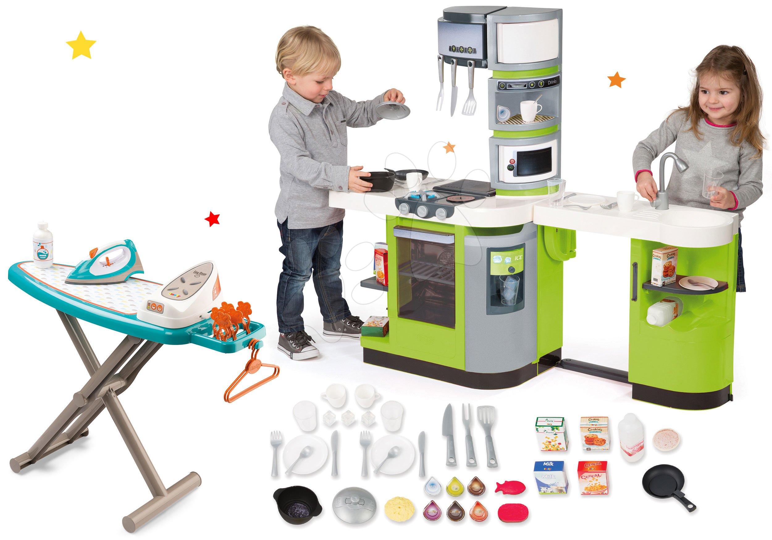 Set kuchyňka CookMaster Věřte Smoby s ledem a zvuky a žehlicí prkno se žehličkou Clean