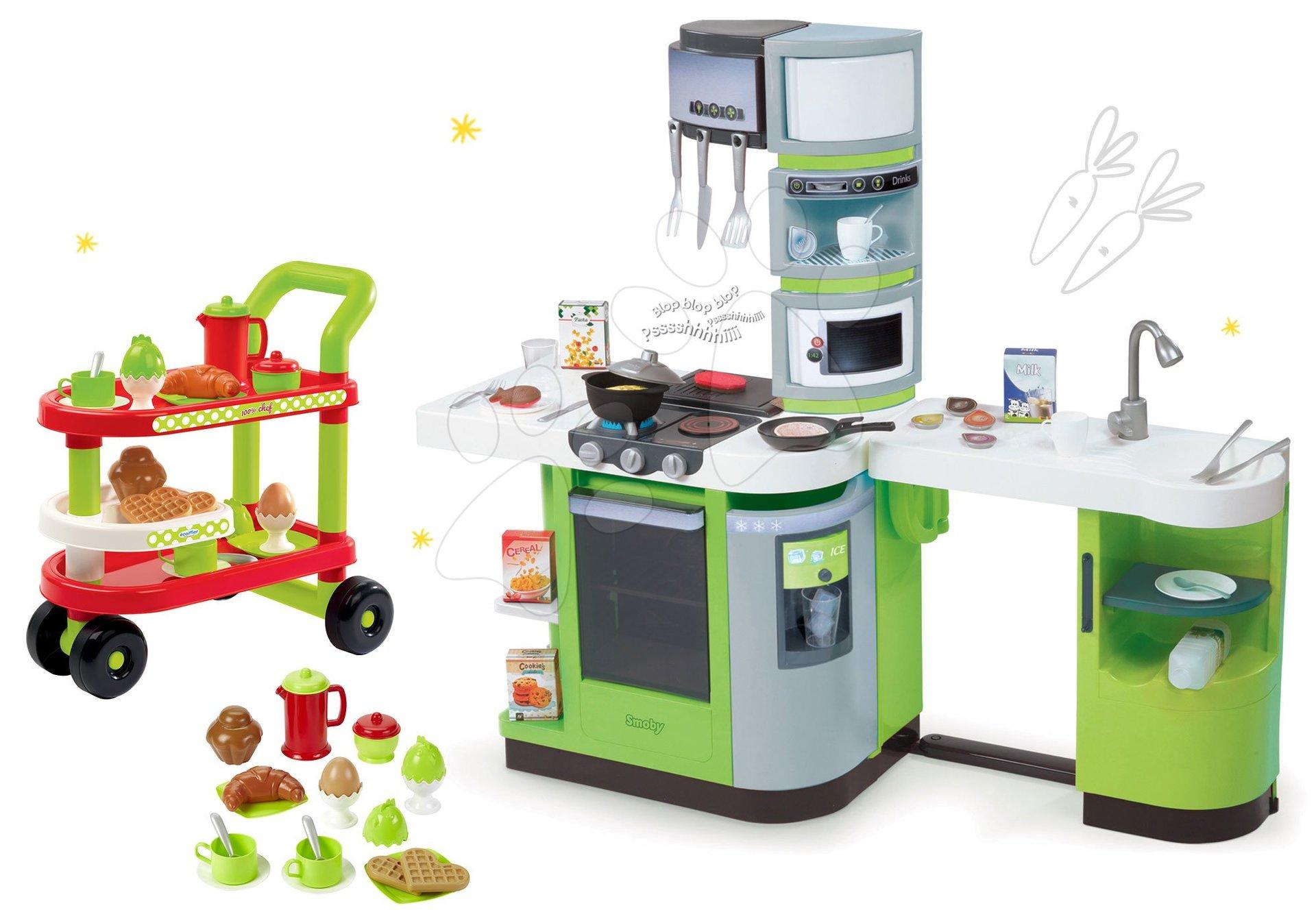 Set kuchyňka CookMaster Verte Smoby s ledem a zvuky a servírovací vozík se snídaní 100% Chef