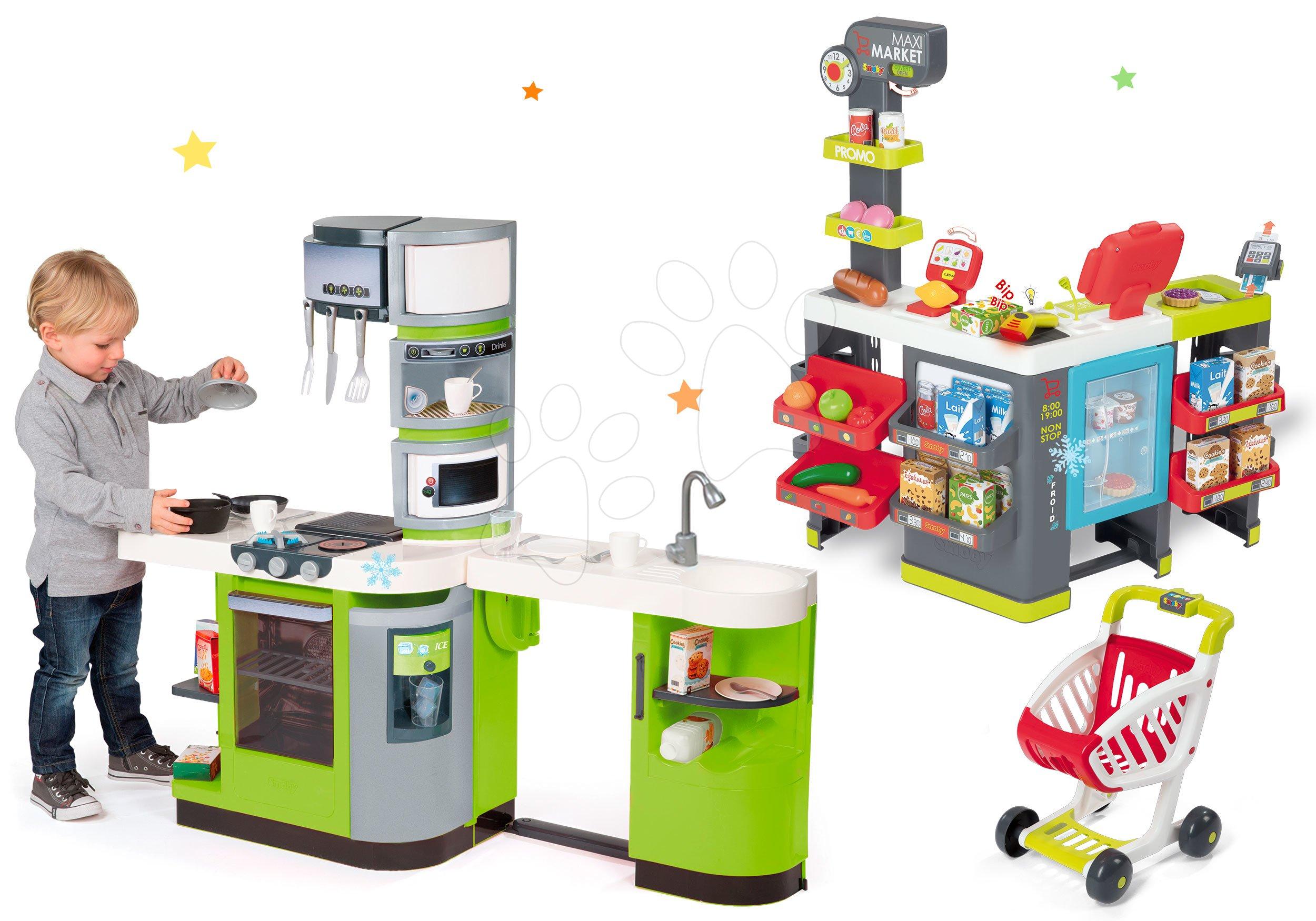 Smoby set dětská kuchyňka CookMaster Verte a obchod Supermarket 311102-22t