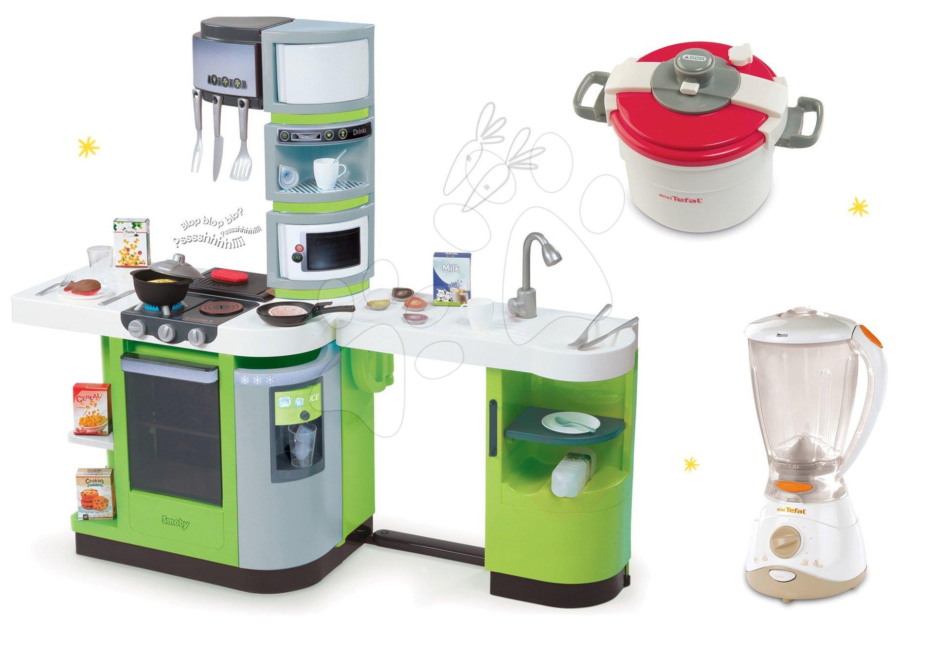 Kuchynky pre deti sety - Set kuchynka CookMaster Verte Smoby s ľadom a zvukmi a 2 kuchynské spotrebiče