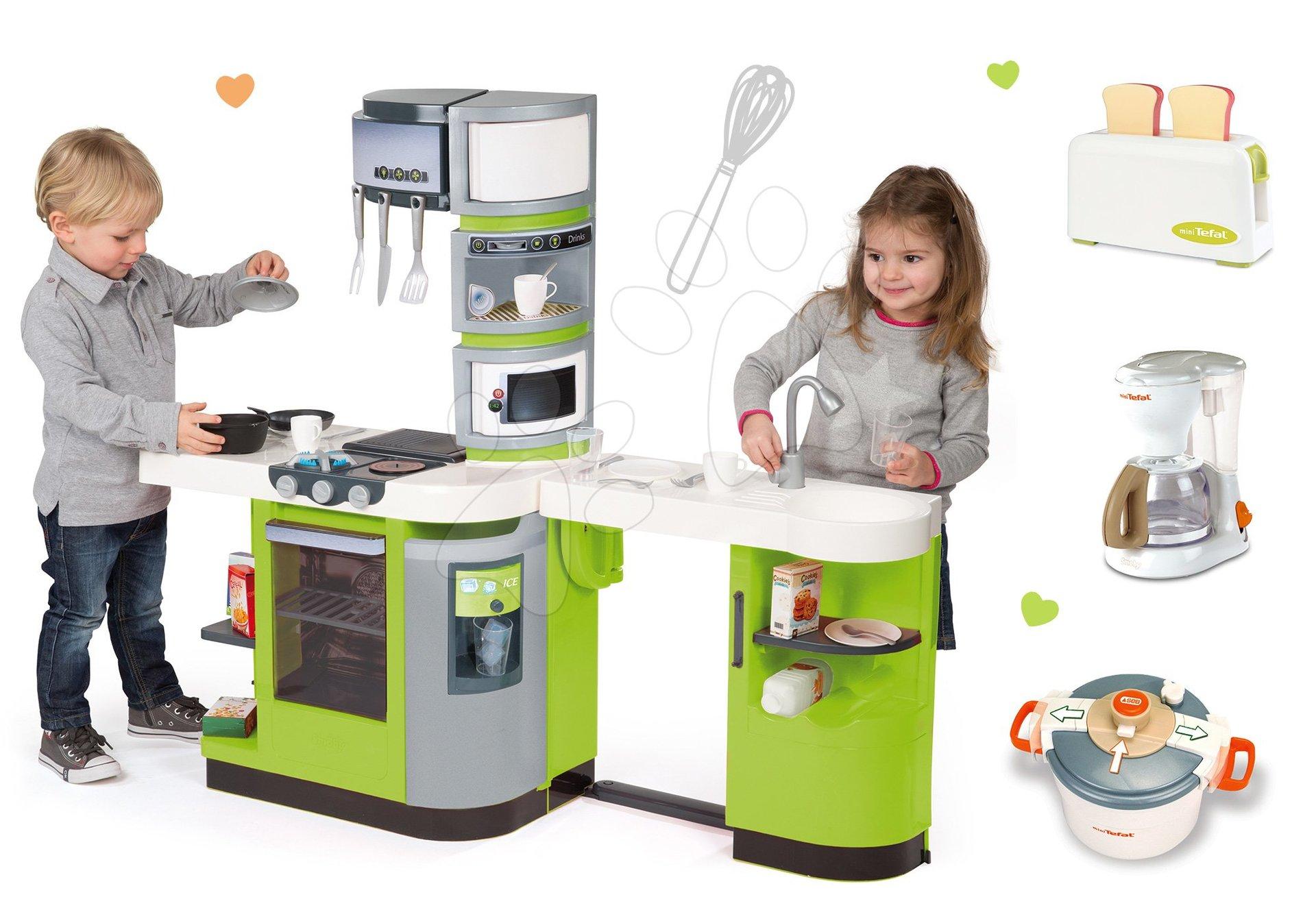 Set kuchyňka CookMaster Verte Smoby s ledem a zvuky a souprava 3 spotřebičů Tefal