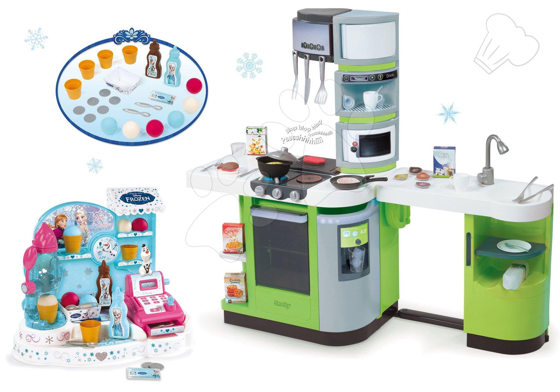 Kuchynky pre deti sety - Set kuchynka CookMaster Verte Smoby s ľadom a zvukmi a zmrzlináreň Frozen