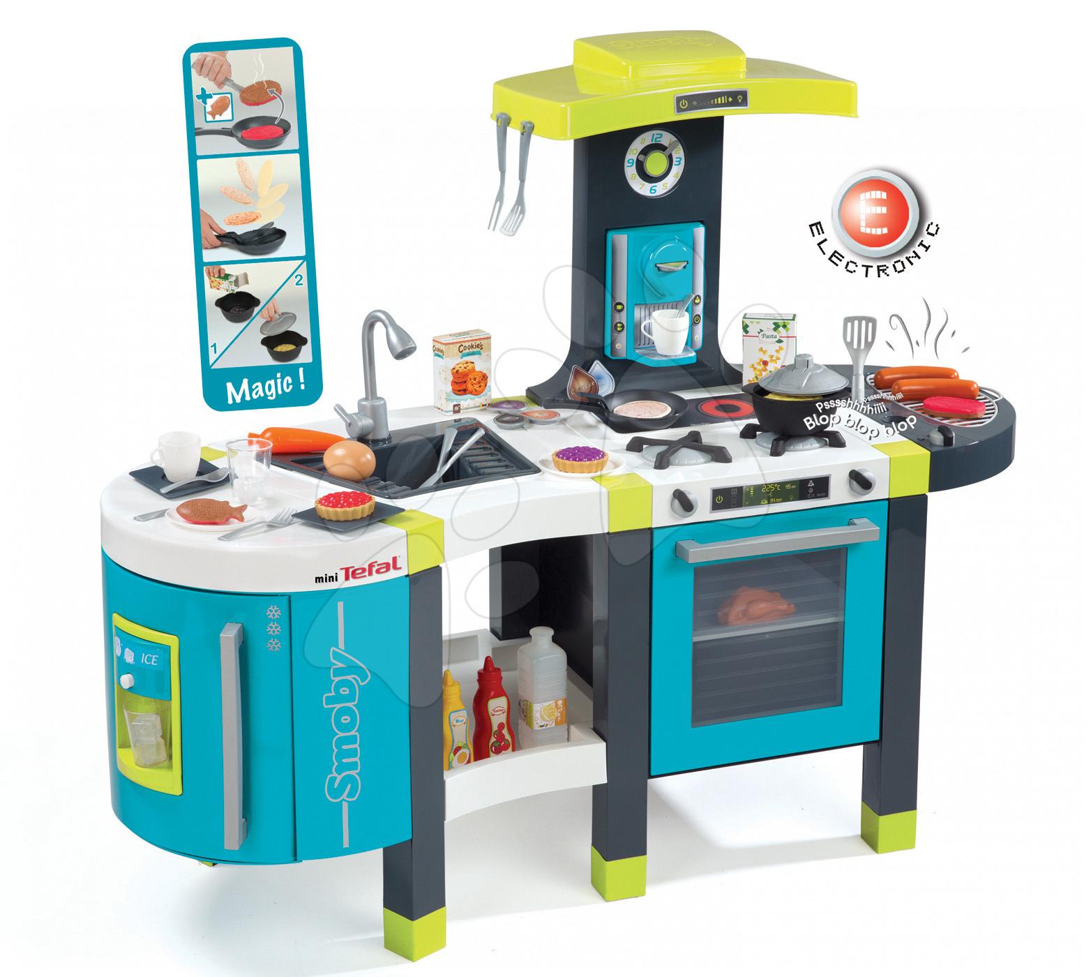 Elektronické kuchynky - Kuchynka Tefal French Touch Smoby elektronická so zvukmi, s ľadom, kávovarom a 45 doplnkami tyrkysovo-zelená