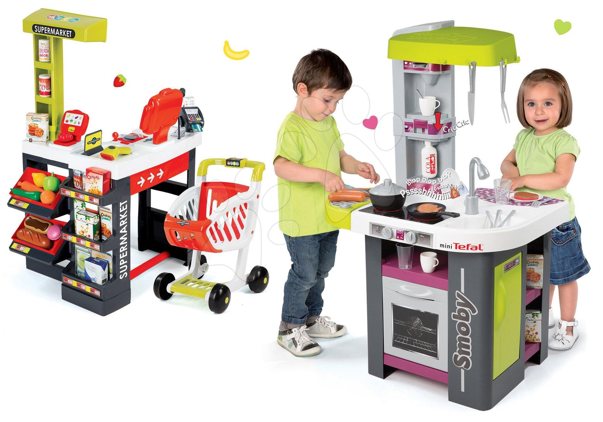 Kuchynky pre deti sety - Set kuchynka Tefal Studio Barbecue Smoby so zvukmi a grilom a obchod Supermarket s pokladňou