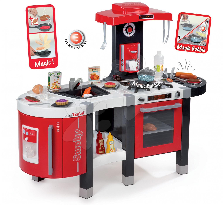 Elektronické kuchynky - Kuchynka Tefal French Touch Bublinky&Voda Smoby elektronická s magickým bublaním, tečúcou vodou a 45 doplnkami červeno-šedá