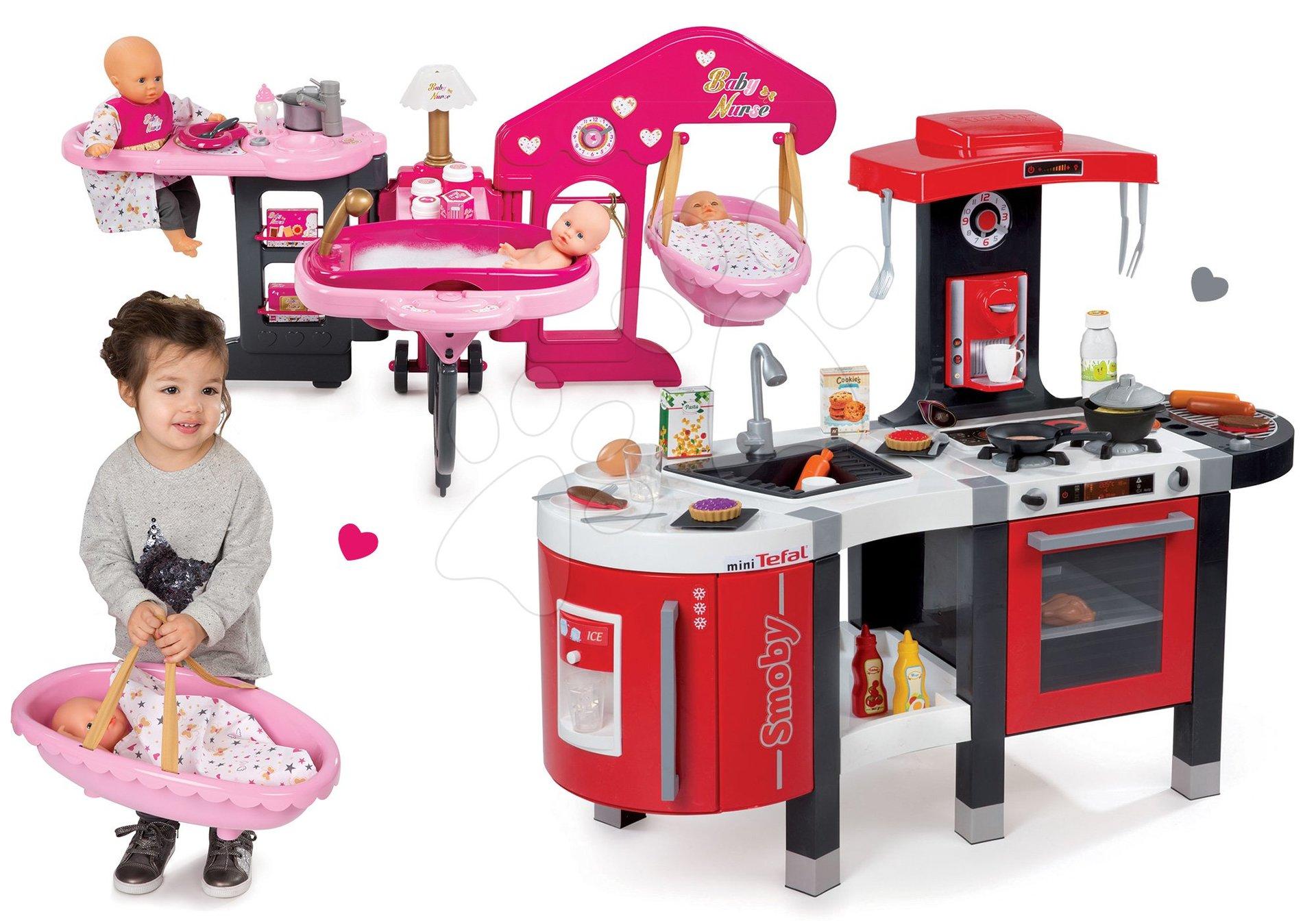 Szett játékkonyha gyerekeknek Tefal French Touch Smoby elektronikus hanggal  és babacenter játékbabának Baby Nurse c652e15cab