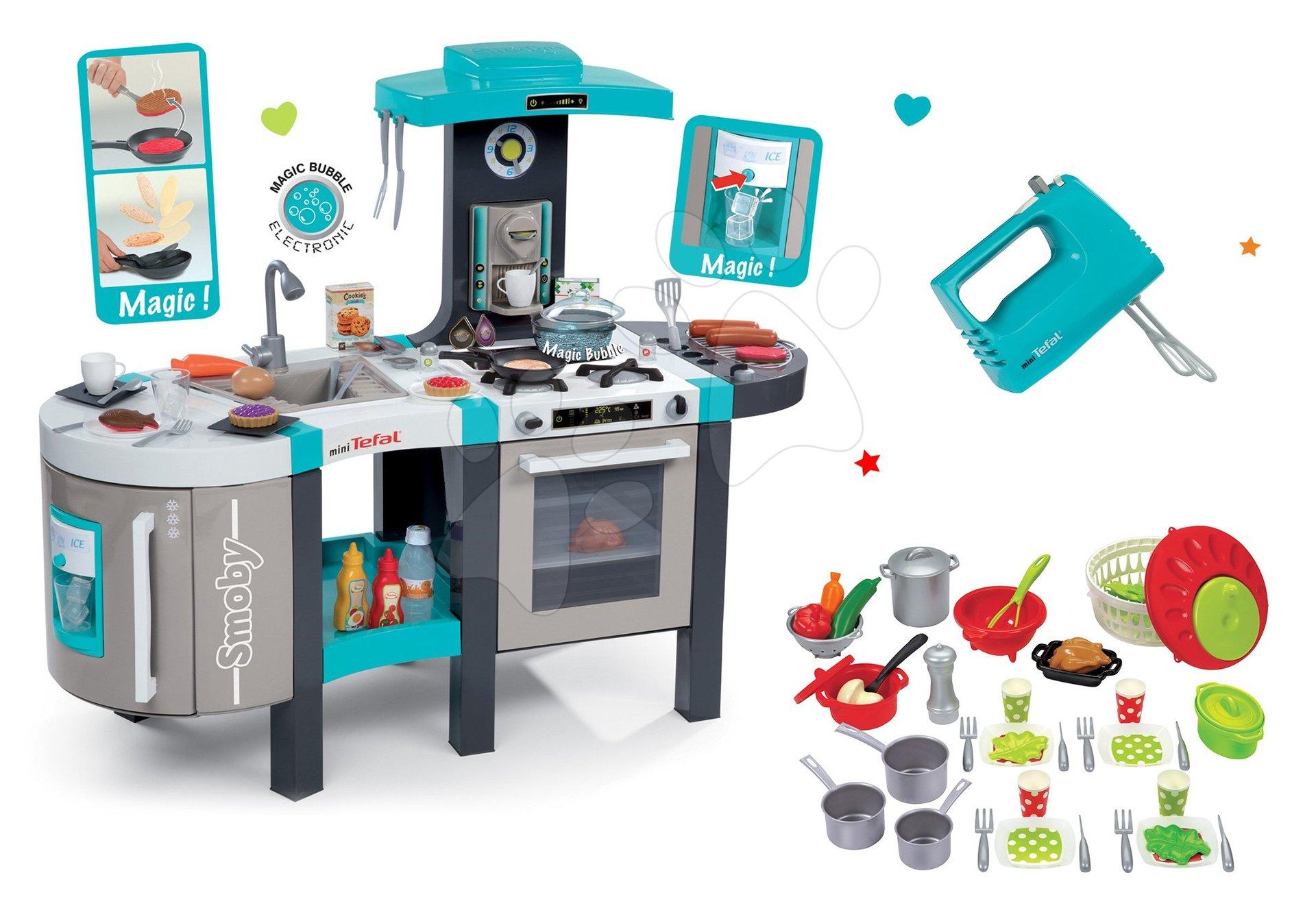 Set kuchyňka Tefal French Touch Smoby s ledem, kávovarem a ruční mixér Tefal a miska se salátem