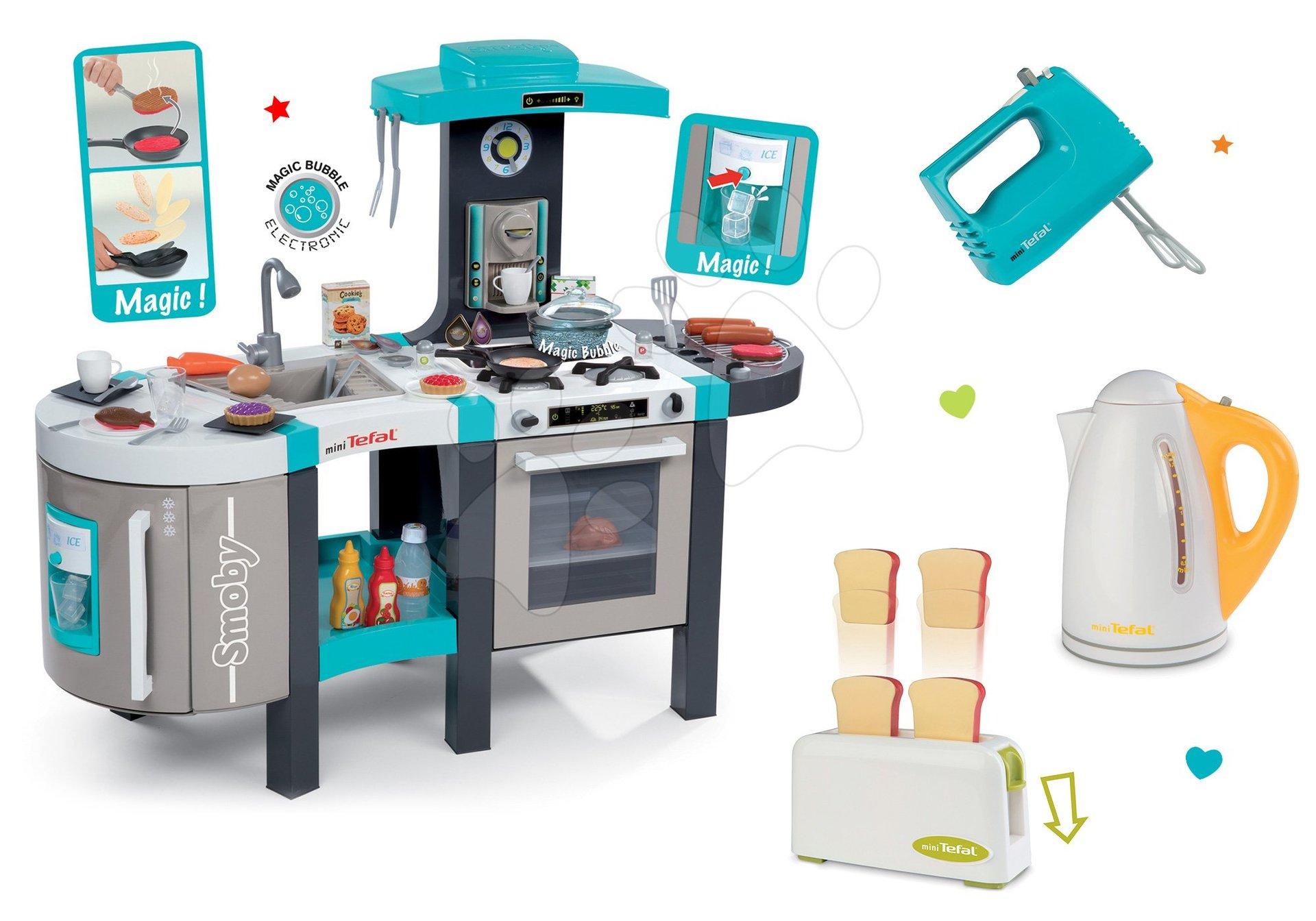 Kuchyňky pro děti sety - Set kuchyňka Tefal French Touch Smoby s ledem a kávovarem a 3 kuchyňské spotřebiče Tefal
