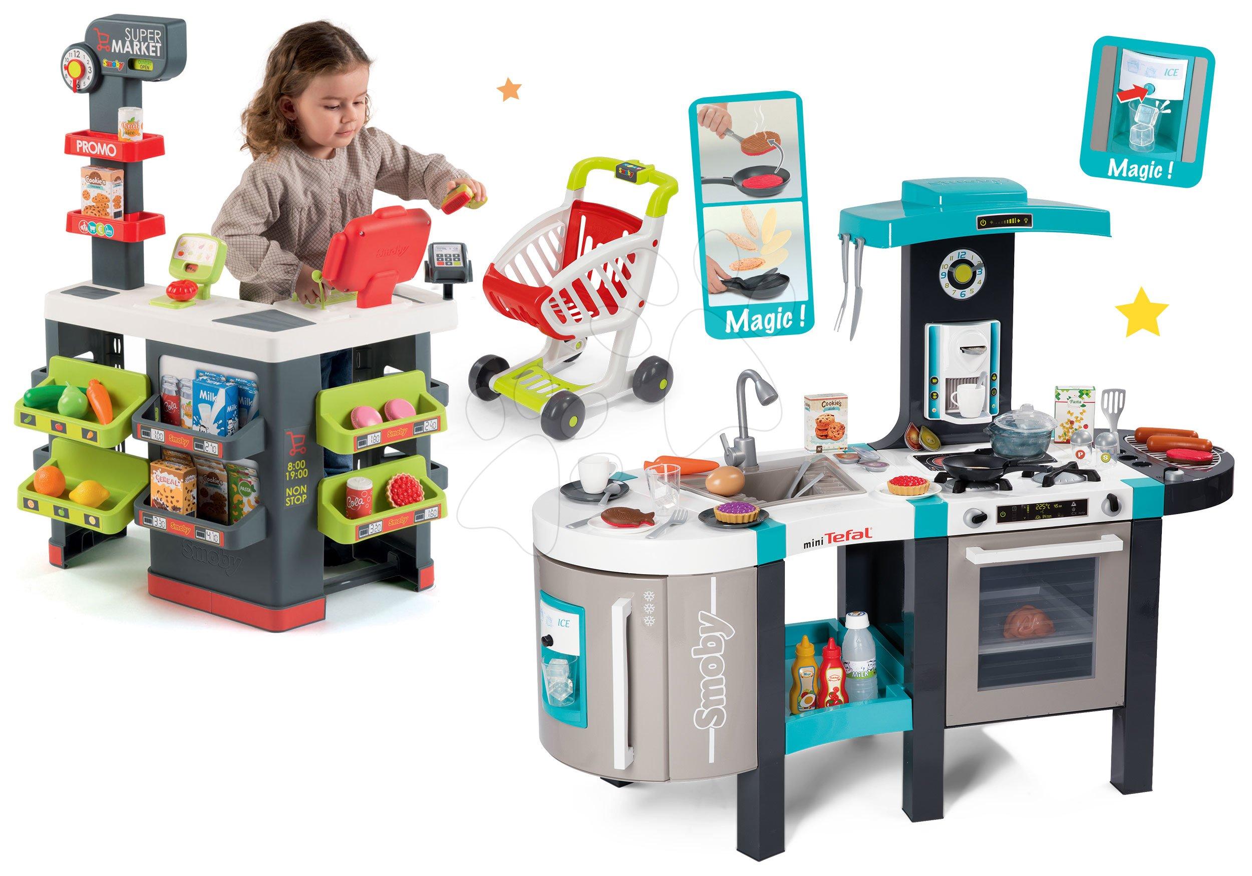 Set kuchyňka Tefal French Touch Smoby s ledem a kávovarem a obchod Supermarket s pokladnou