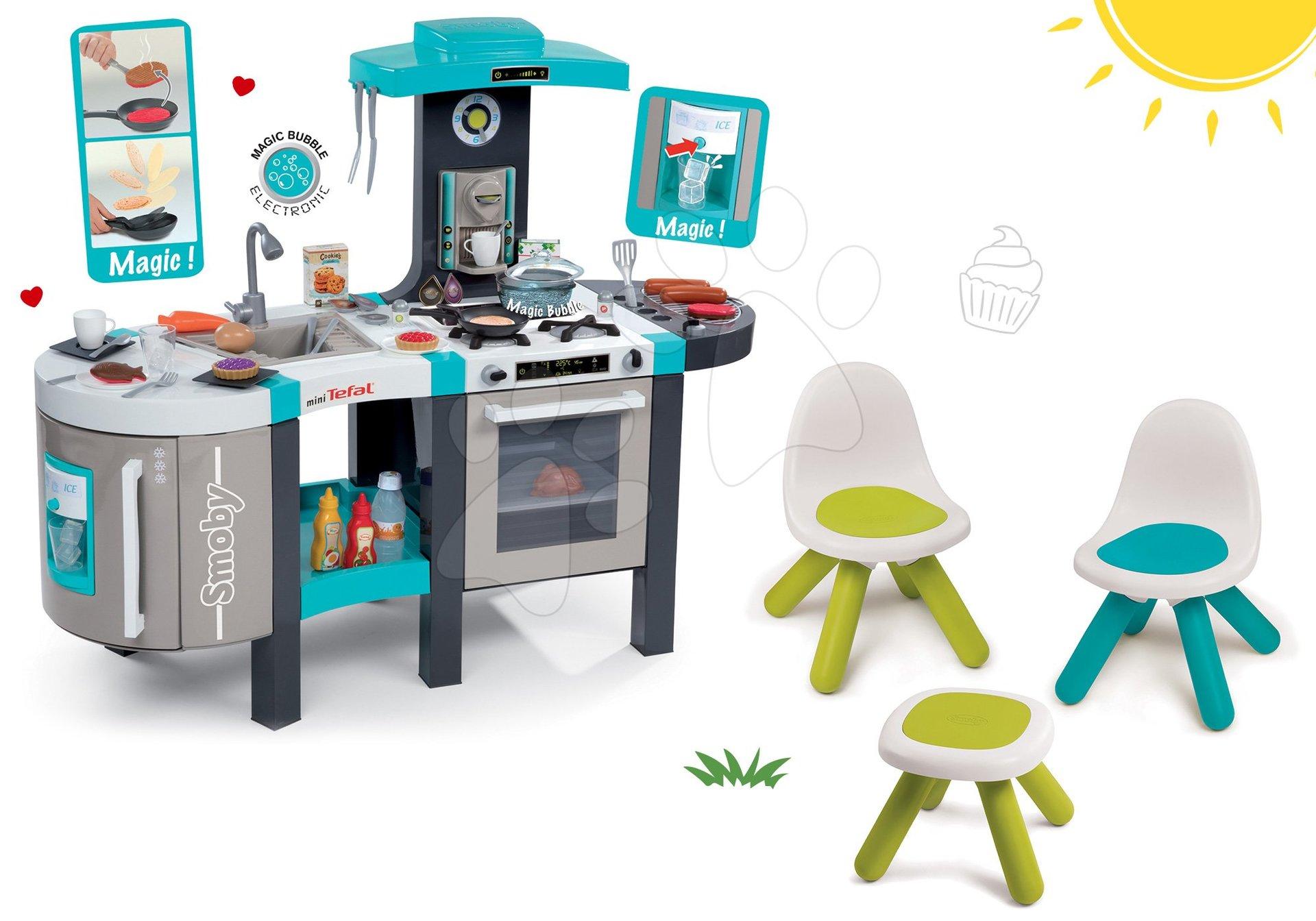 Kuchynky pre deti sety - Set kuchynka Tefal French Touch Smoby s ľadom a kávovarom a stôl Piknik s dvoma stoličkami KidChair Blue