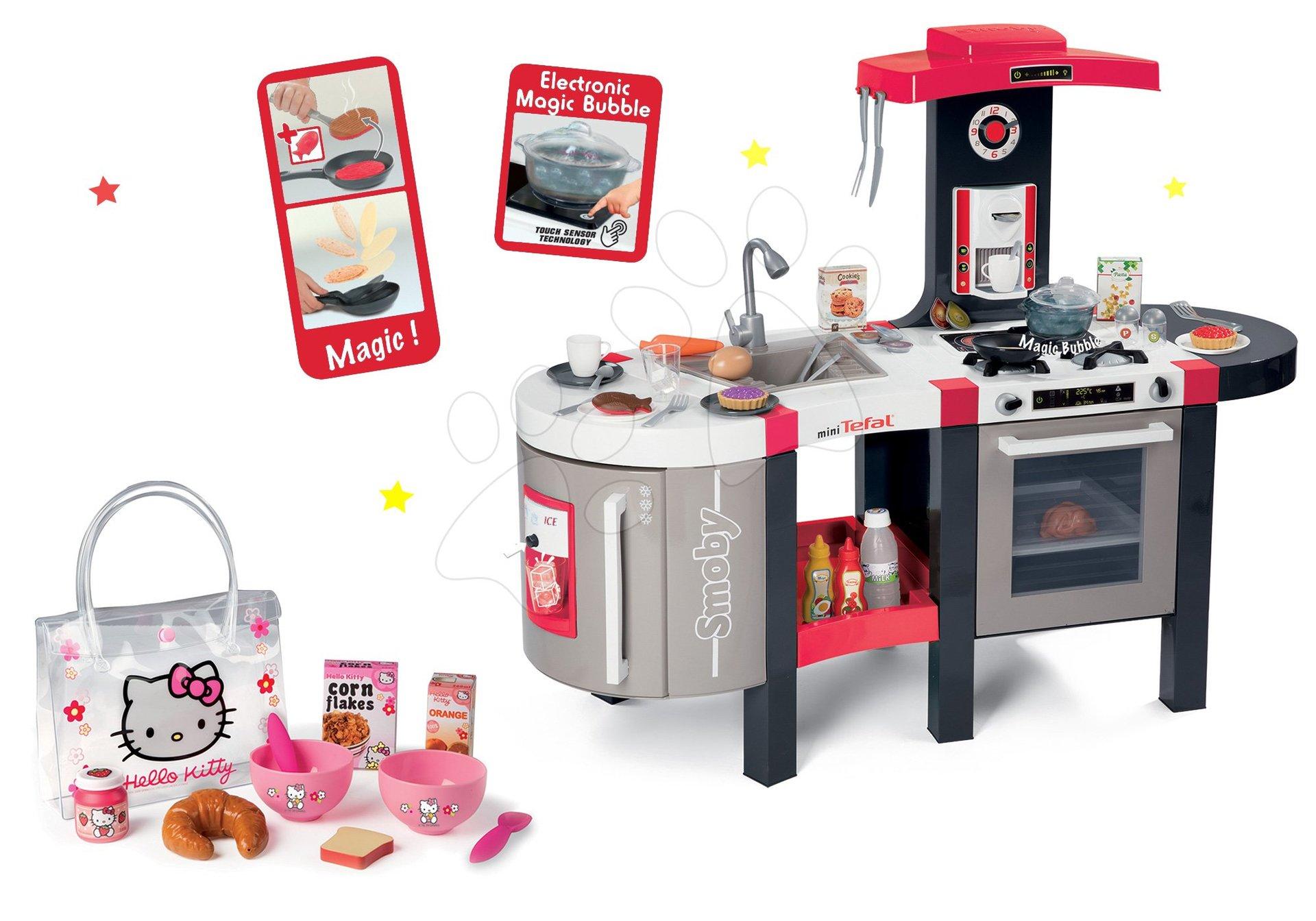 Set kuchyňka elektronická Tefal French Touch Bubble Smoby s bubláním a snídaňový set v taštičce Hello Kitty jako dárek
