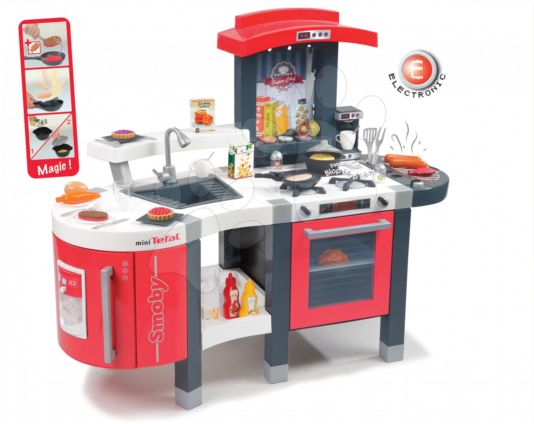 Kuchynka Tefal SuperChef Smoby elektronická so zvukmi, s ľadom, kávovarom, grilom a 47 doplnkami červeno-šedá