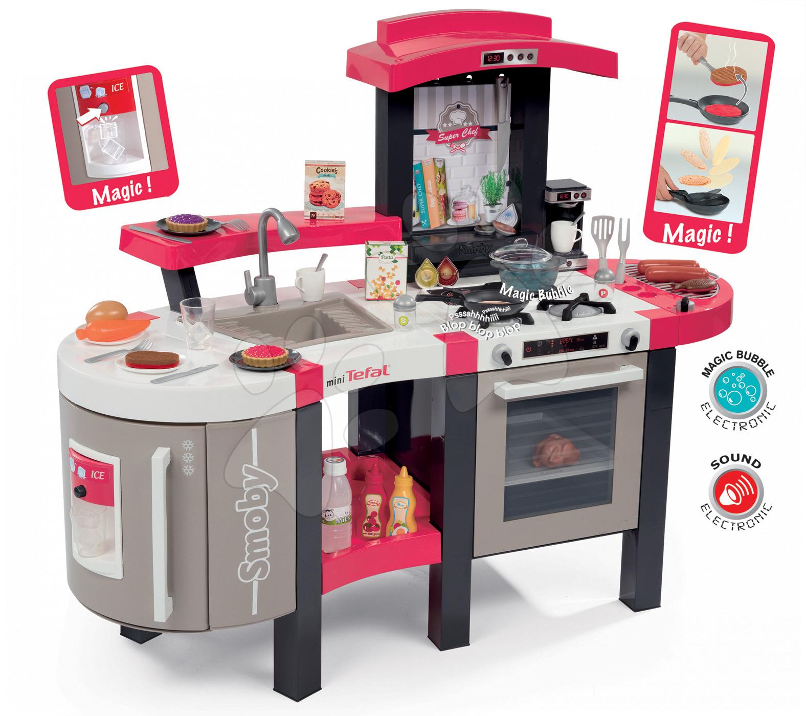 Bucătărie Tefal Super Chef Deluxe Smoby electronică cu oală magică, grătar, gheață şi cu 46 accesorii culoarea căpşunii-bej