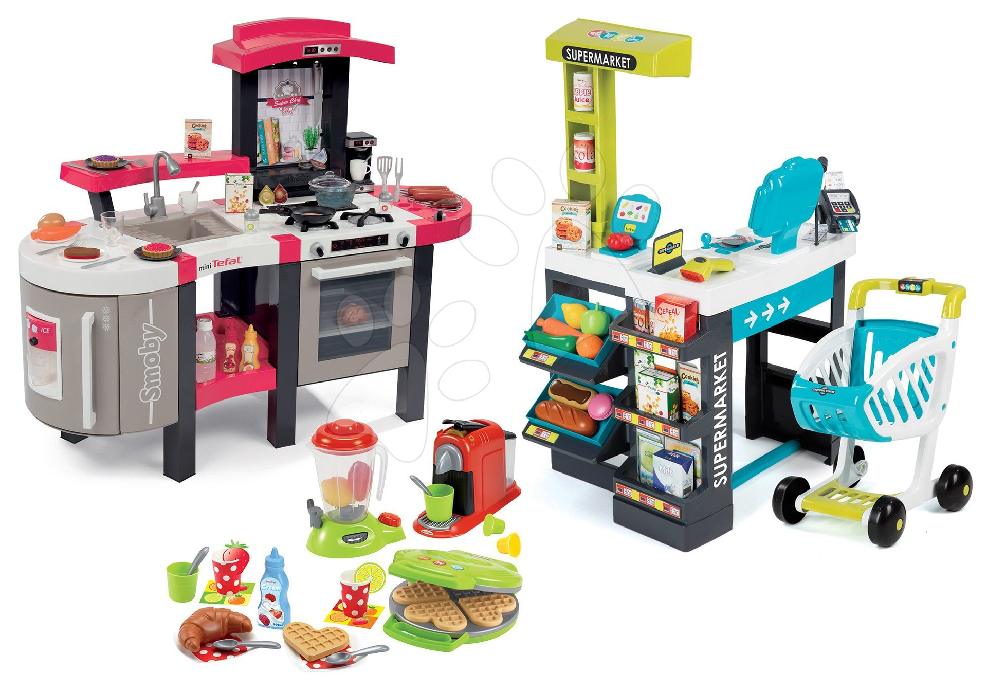 Kuchynky pre deti sety - Set kuchynka Tefal SuperChef Smoby s grilom a kávovarom a obchod Supermarket s dotykovou pokladňou