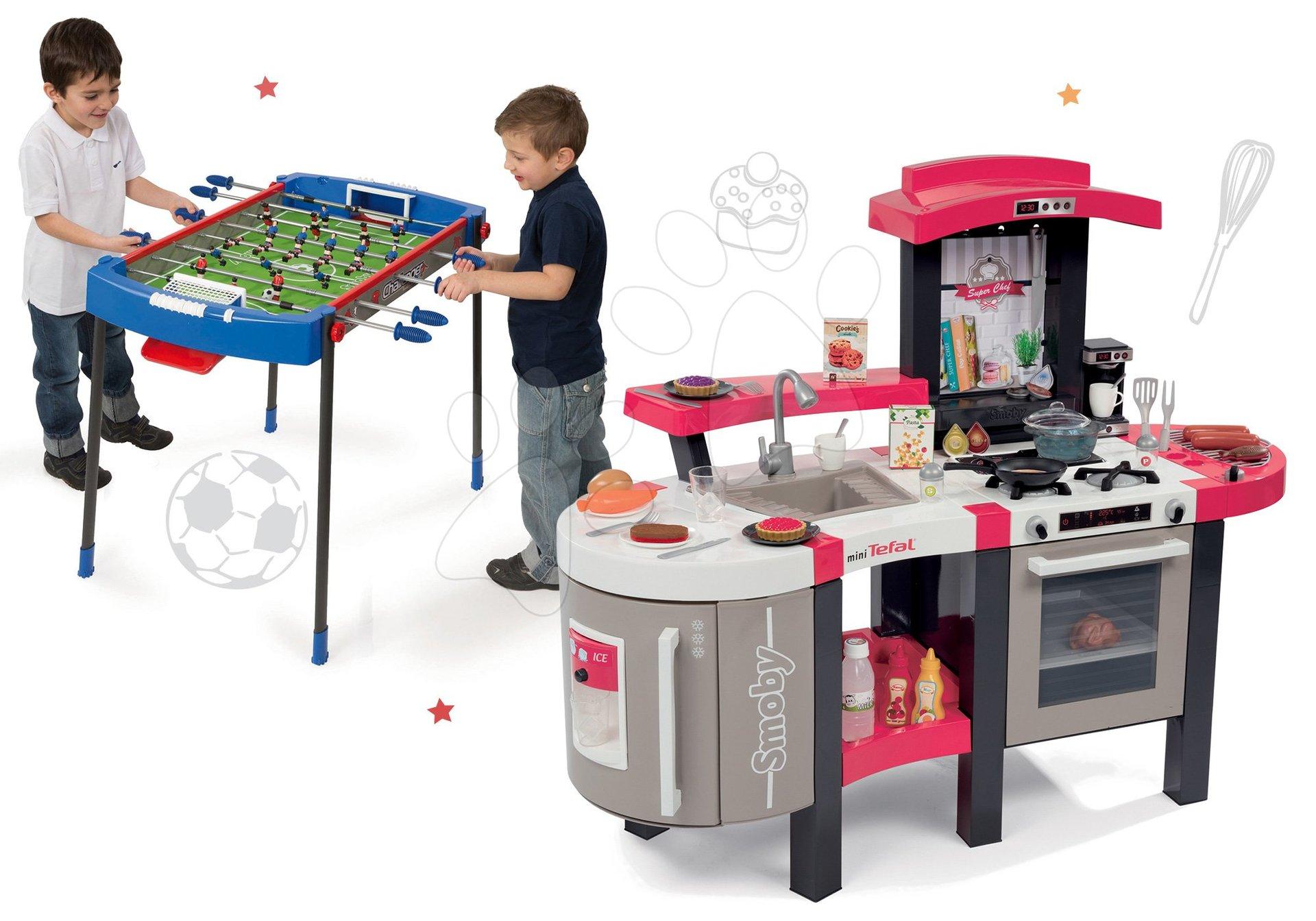 Kuchynky pre deti sety - Set kuchynka Tefal SuperChef Smoby s grilom a kávovarom a futbalový stôl Challenger
