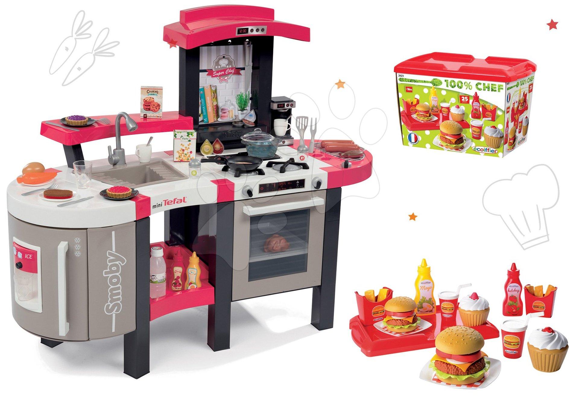 Set kuchyňka Tefal SuperChef Smoby s grilem a kávovarem a set hamburgerů 100% Chef