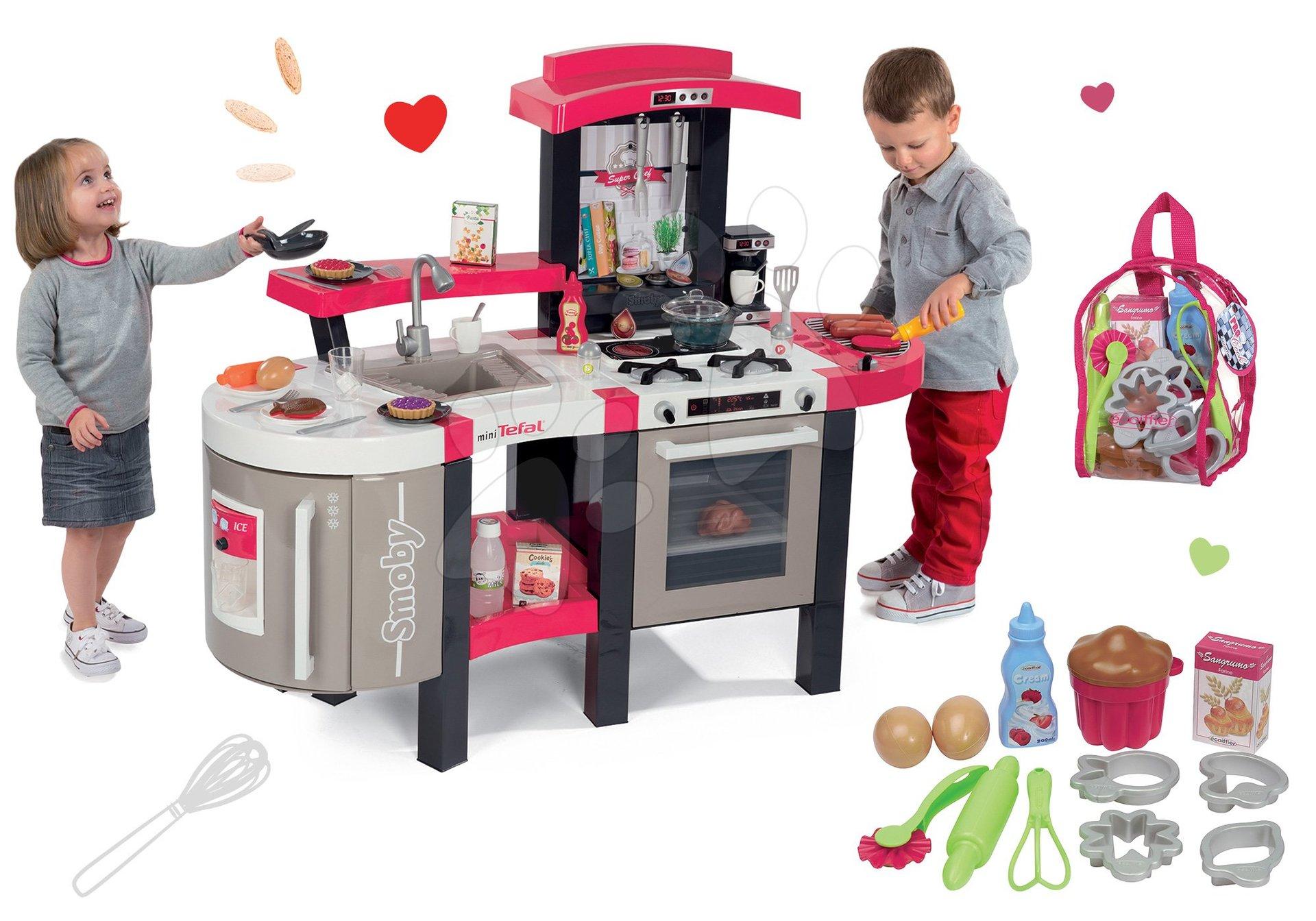 Kuchynky pre deti sety - Set kuchynka Tefal SuperChef Smoby s grilom a kávovarom a doplnky na pečenie v batohu