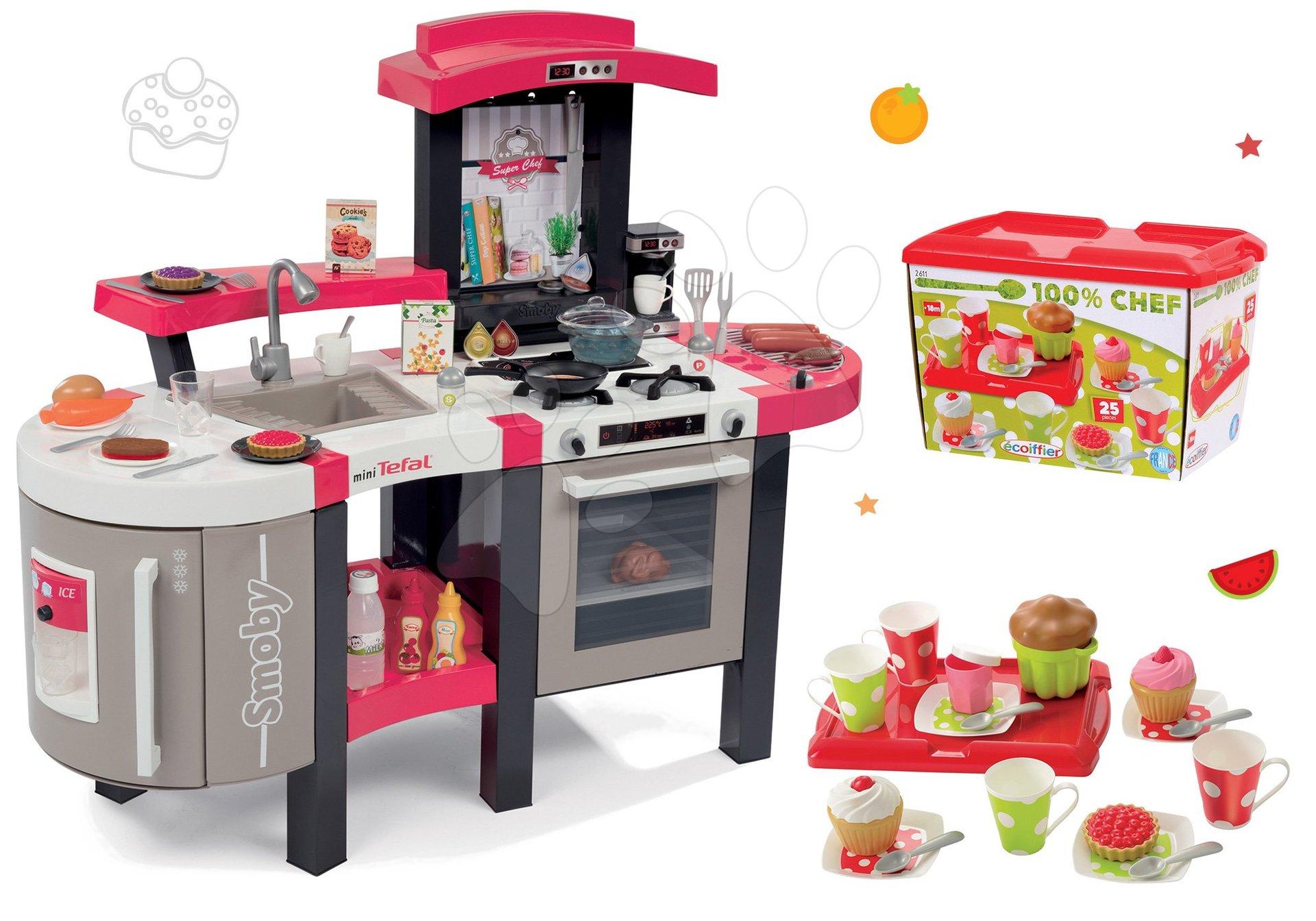 Kuchynky pre deti sety - Set kuchynka Tefal SuperChef Smoby s grilom a kávovarom a čajová súprava 100% Chef