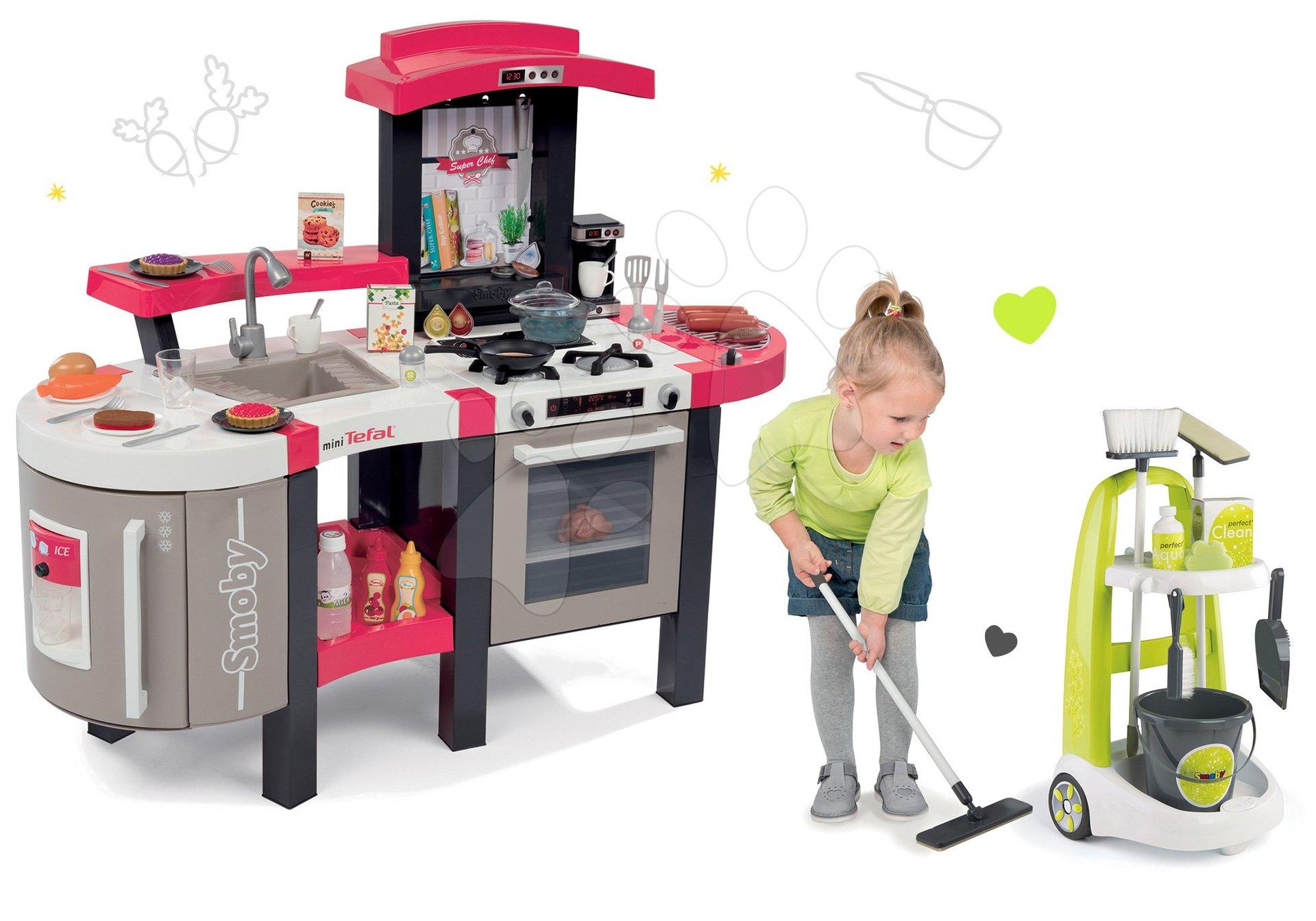 Kuchynky pre deti sety - Set kuchynka Tefal SuperChef Smoby s grilom a kávovarom a upratovací vozík Clean