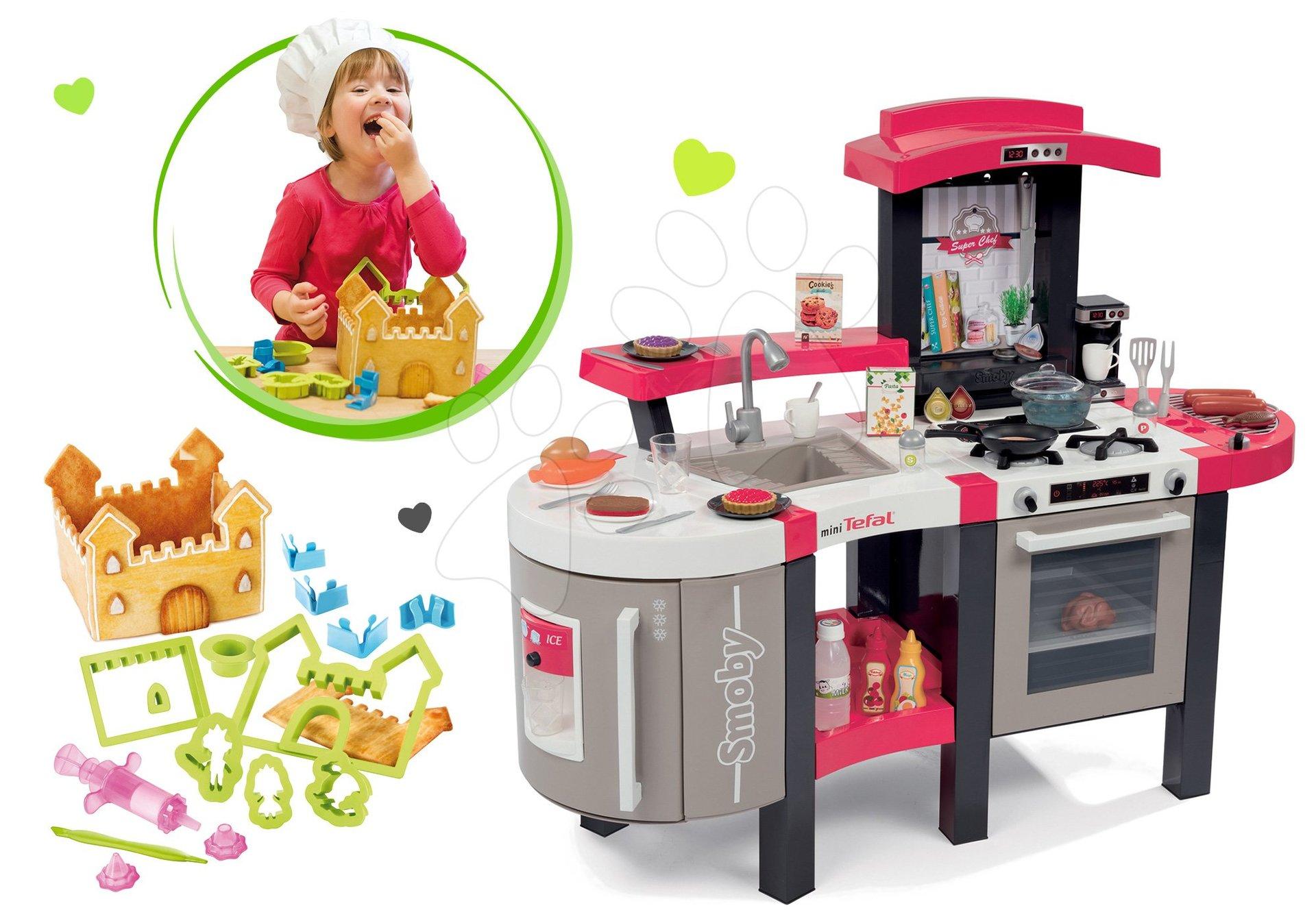 Set kuchyňka Tefal SuperChef Smoby s grilem a kávovarem a Hravá kuchařka Perníková chaloupka