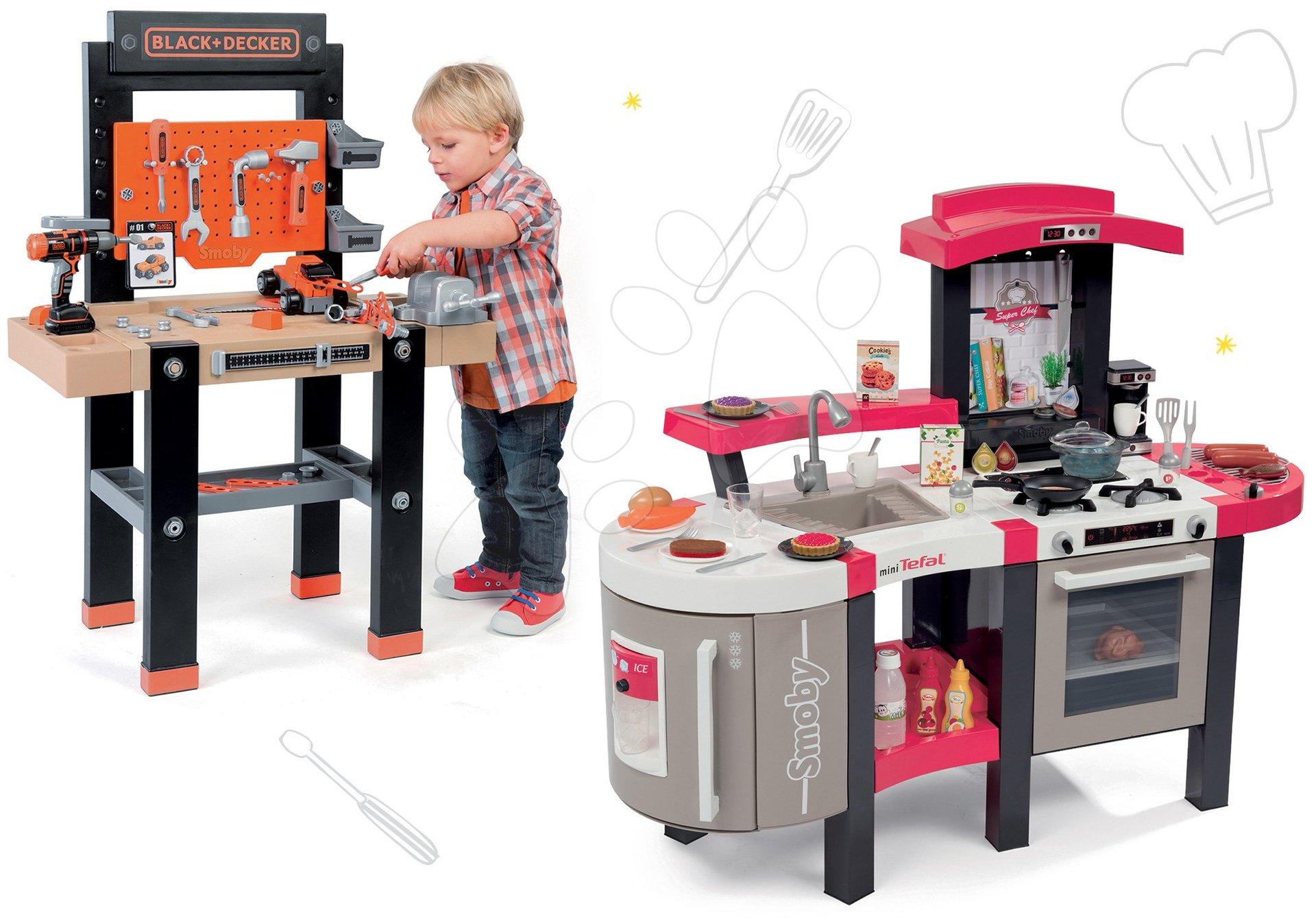Kuchynky pre deti sety - Set kuchynka Tefal SuperChef Smoby s grilom a kávovarom a pracovná dielňa s vŕtačkou Black+Decker