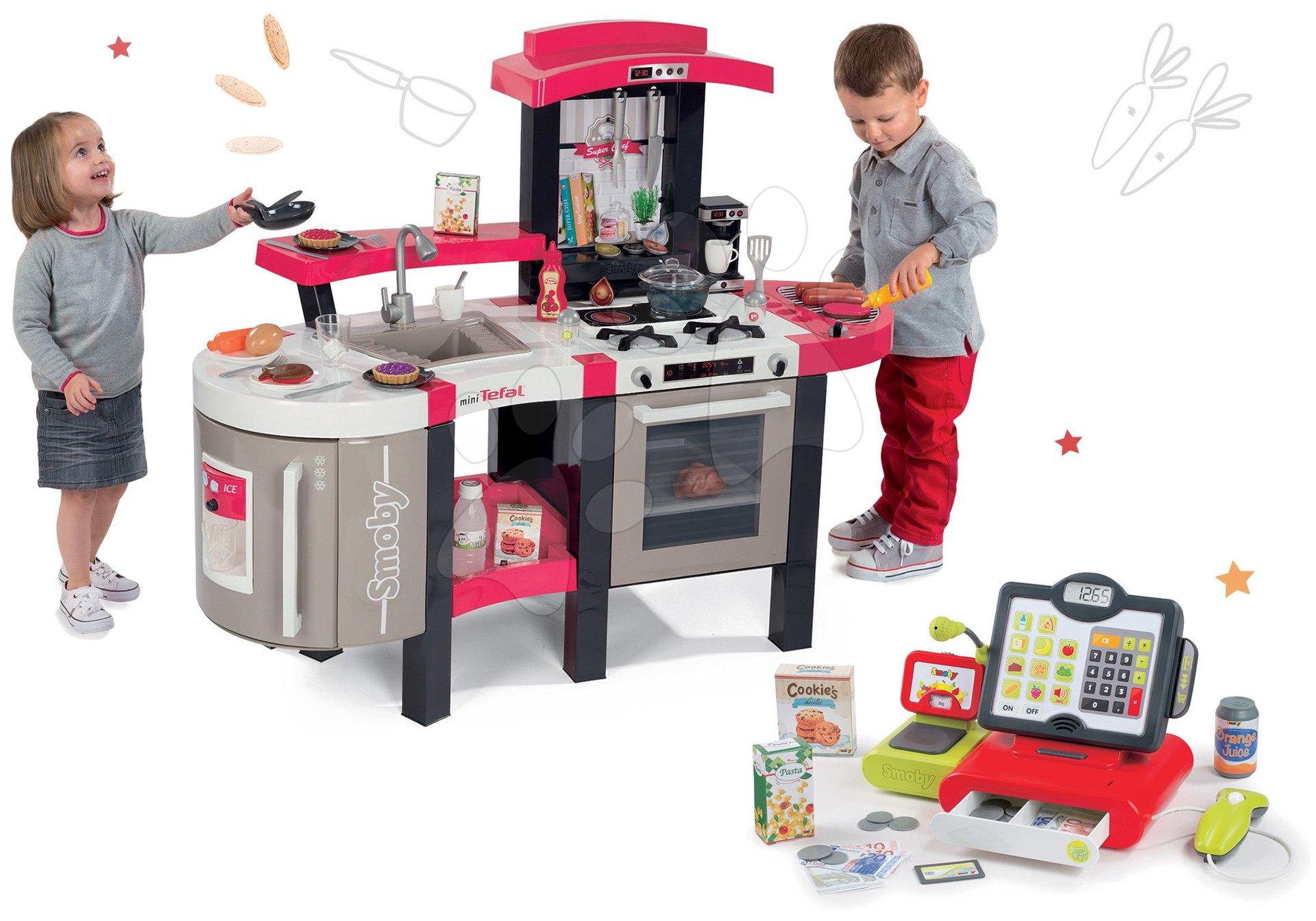 Kuchynky pre deti sety - Set kuchynka Tefal SuperChef Smoby s grilom a kávovarom a elektronická dotyková pokladňa