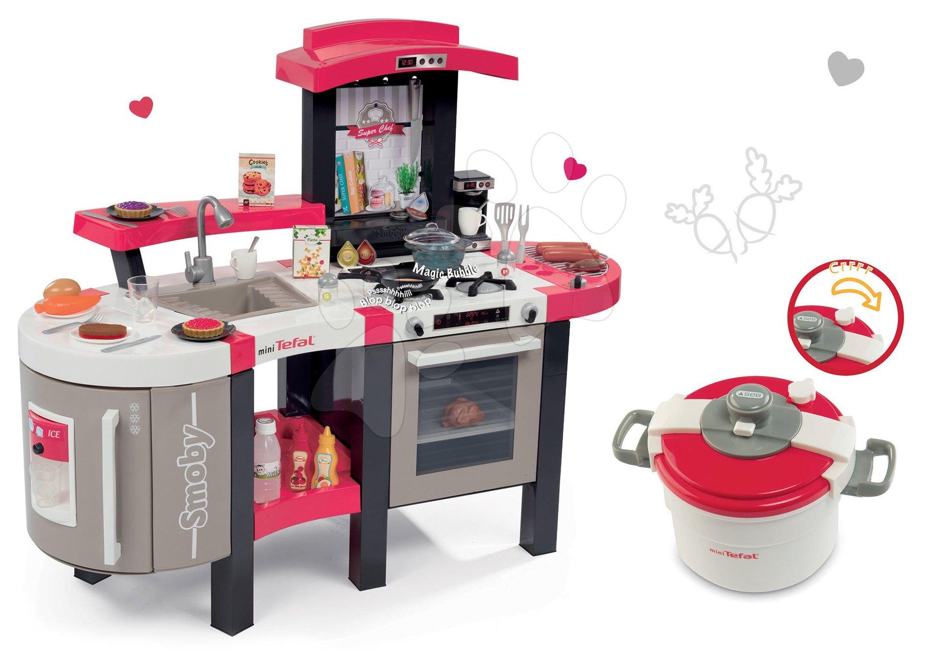 Set kuchyňka Tefal SuperChef Smoby s grilem a kávovarem a tlakový hrnec Tefal