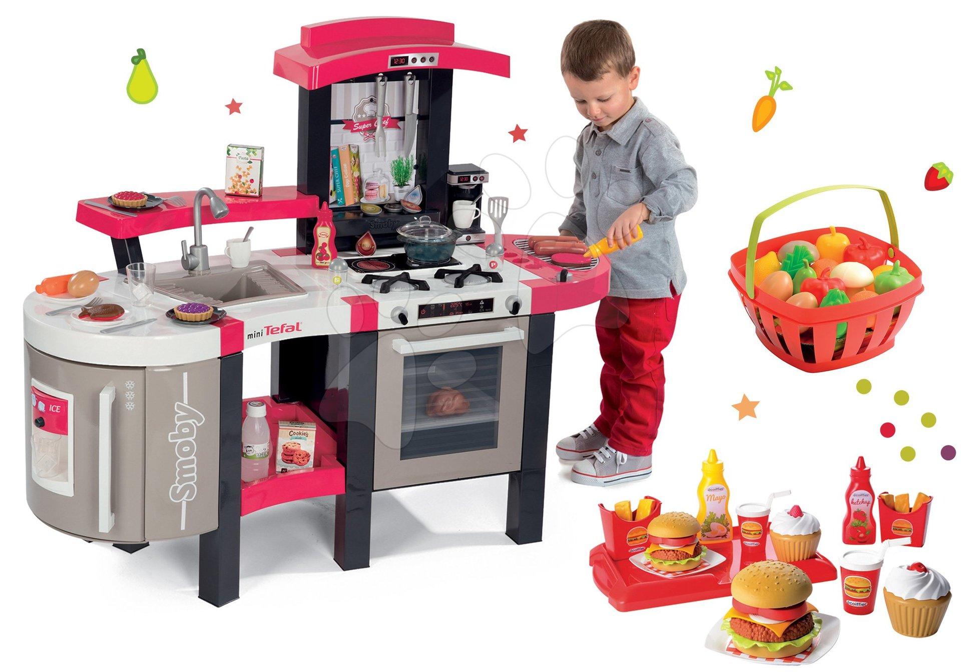Set kuchyňka Tefal SuperChef Smoby s grilem a kávovarem, hamburgry a košík s ovocem a zeleninou