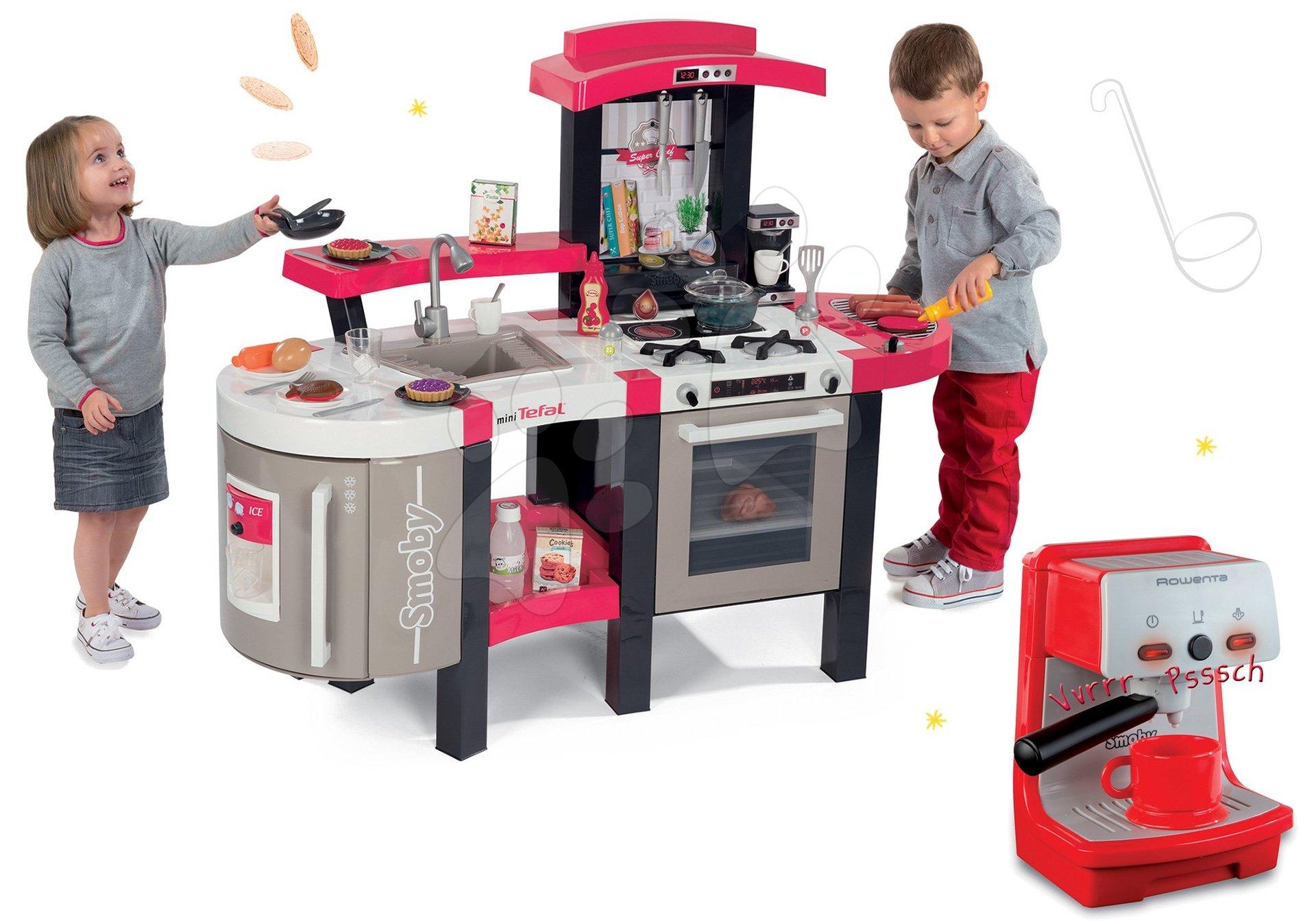 Kuchynky pre deti sety - Set kuchynka Tefal SuperChef Smoby s grilom a ľadom a elektronický kávovar Rowenta Espresso