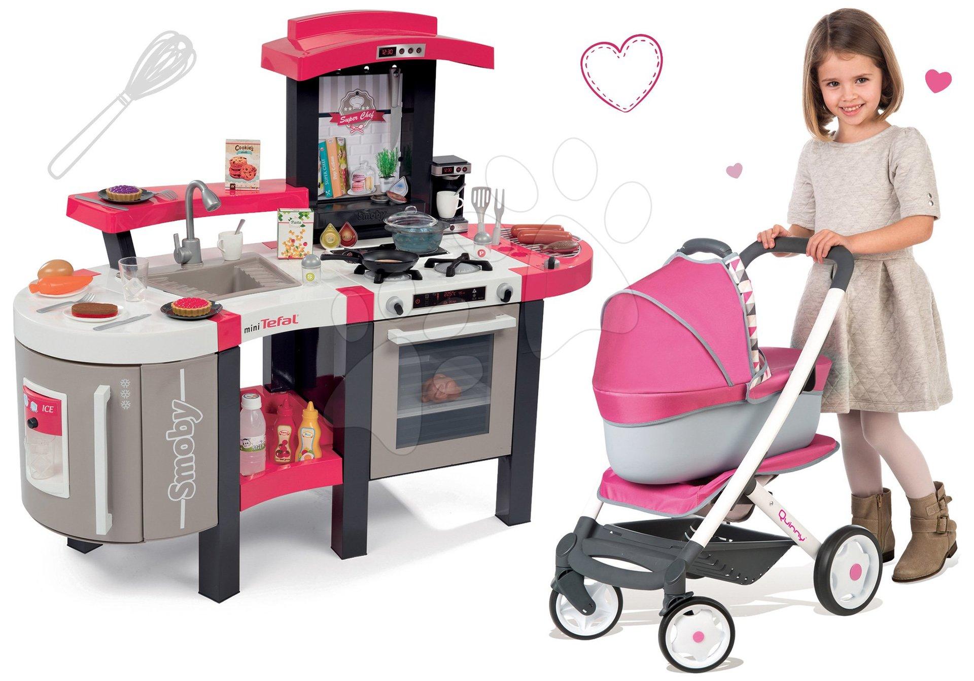 Kuchynky pre deti sety - Set kuchynka Tefal SuperChef Smoby s grilom a kávovarom a kočík pre bábiku retro Maxi Cosi & Quinny 3v1 (rúčka 65,5 cm)