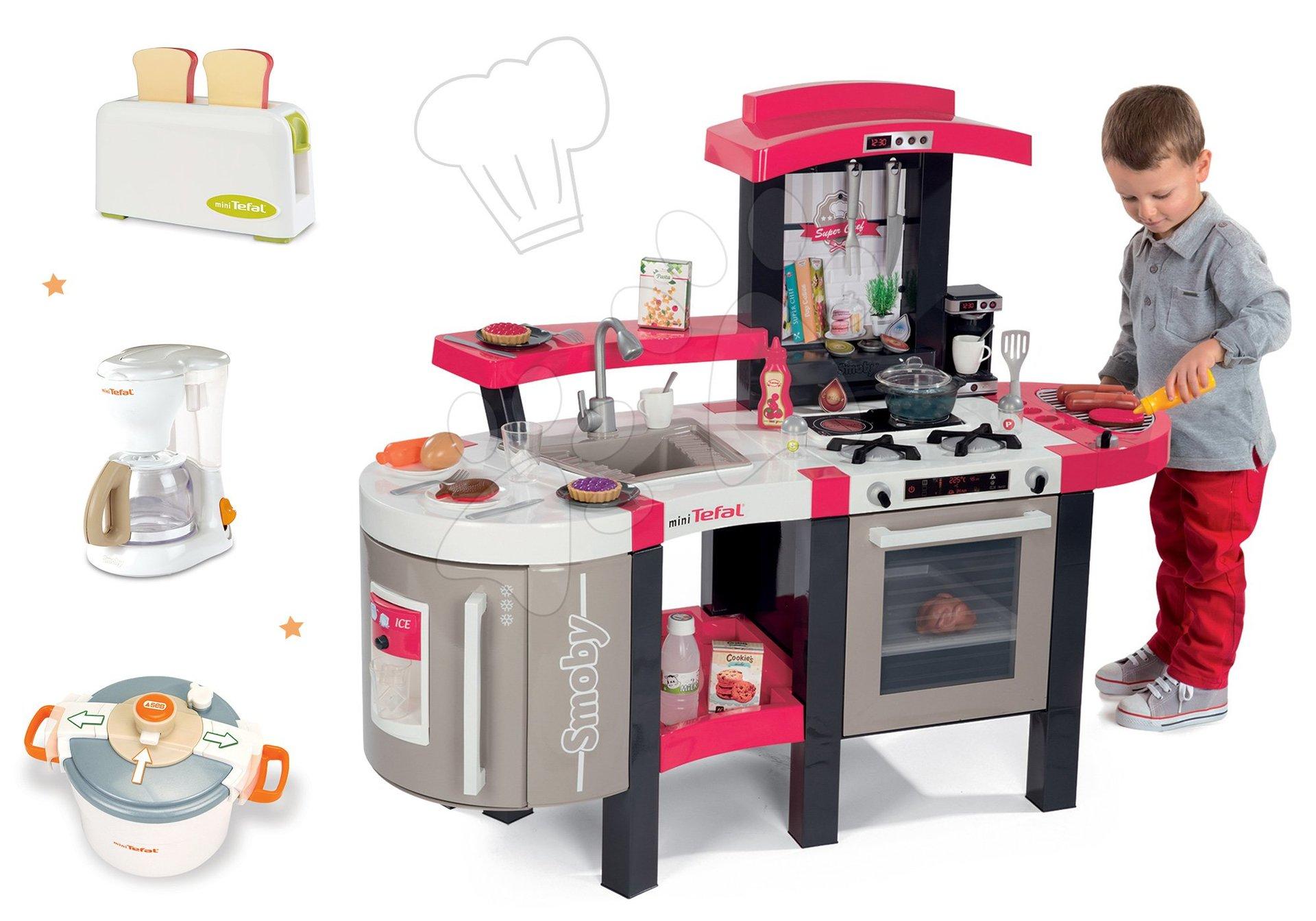 Kuchynky pre deti sety - Set kuchynka Tefal SuperChef Smoby s grilom a kávovarom a 3 kuchynské spotrebiče Tefal