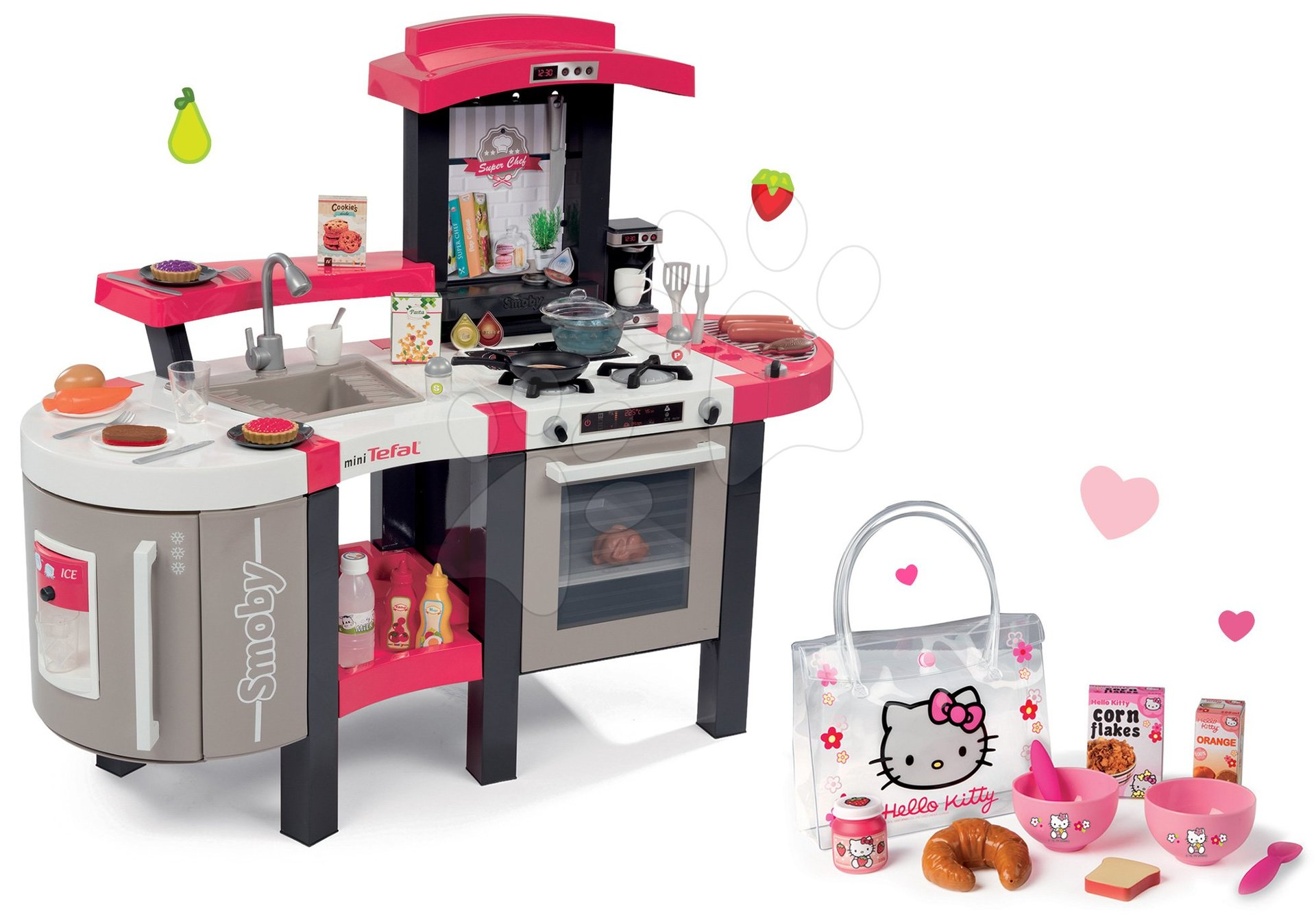 Set kuchynka Tefal Superchef Smoby so zvukmi, ľadom a grilom a raňajkový set Hello Kitty v taštičke
