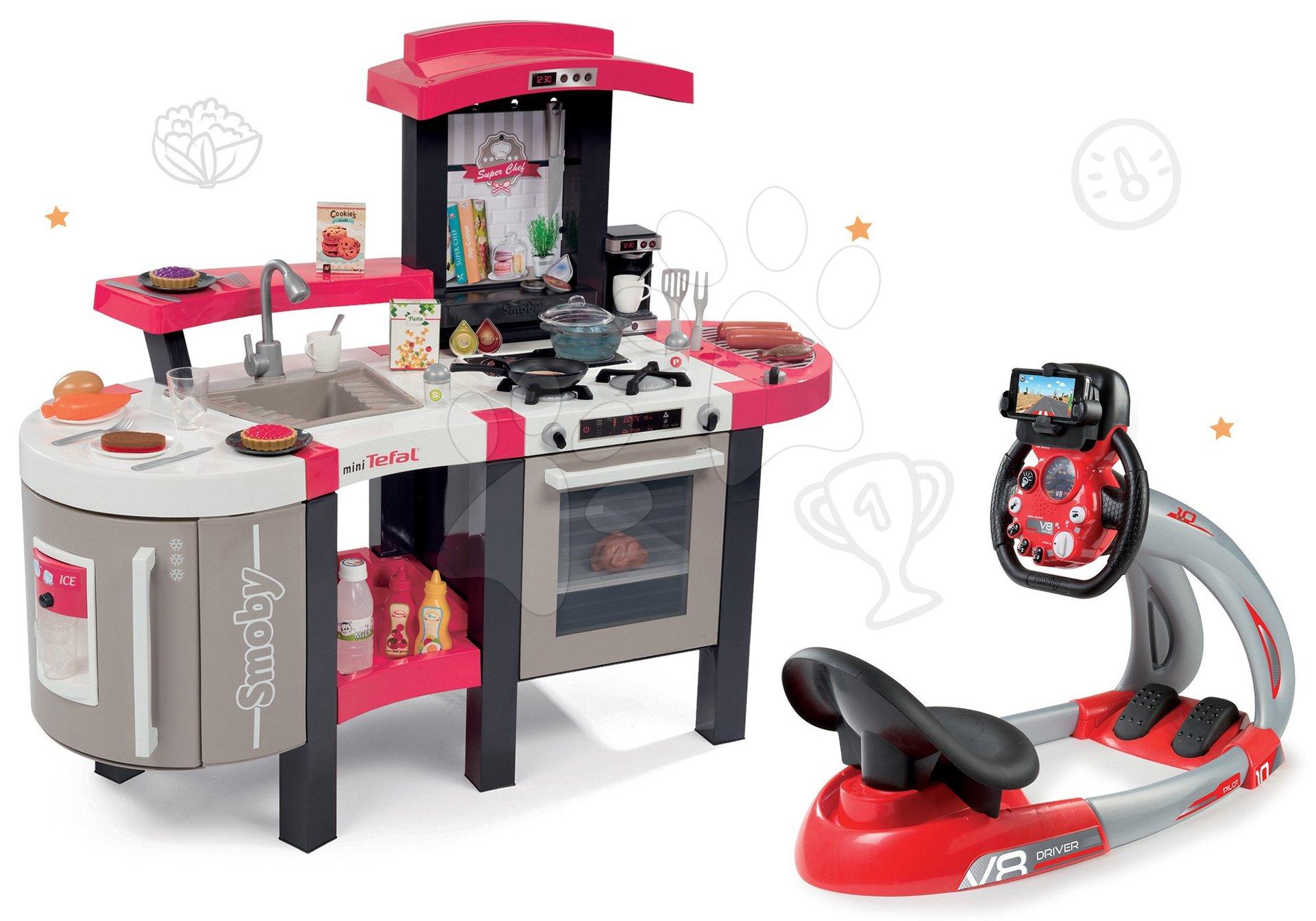 Set kuchyňka Tefal SuperChef Smoby s grilem a kávovarem a elektronický trenažér Auta Ice V8 Driver