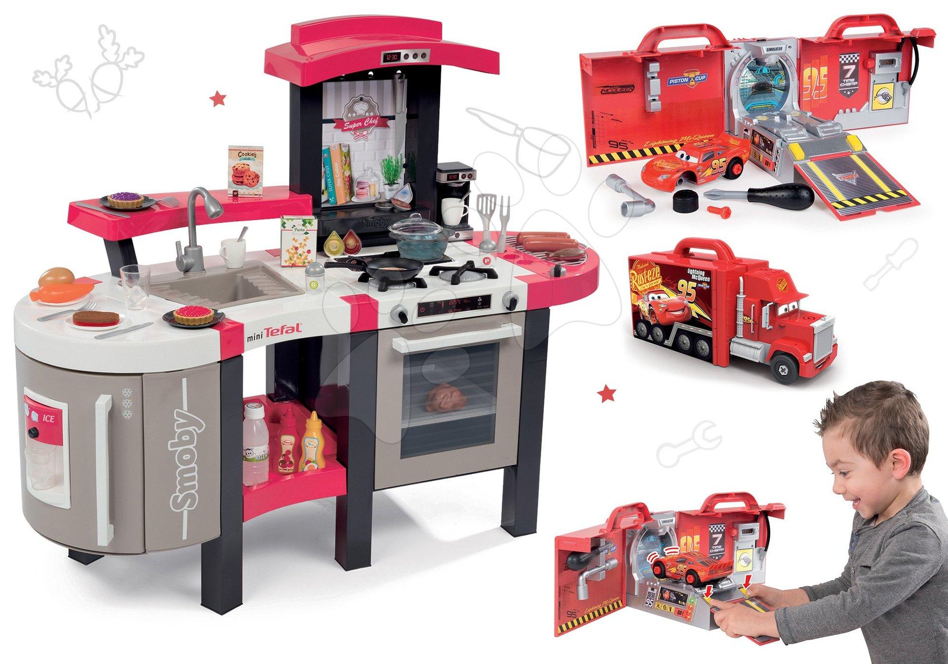 Kuchynky pre deti sety - Set kuchynka Tefal SuperChef Smoby s grilom a kávovarom a elektronický kamión s autíčkom Autá Ice